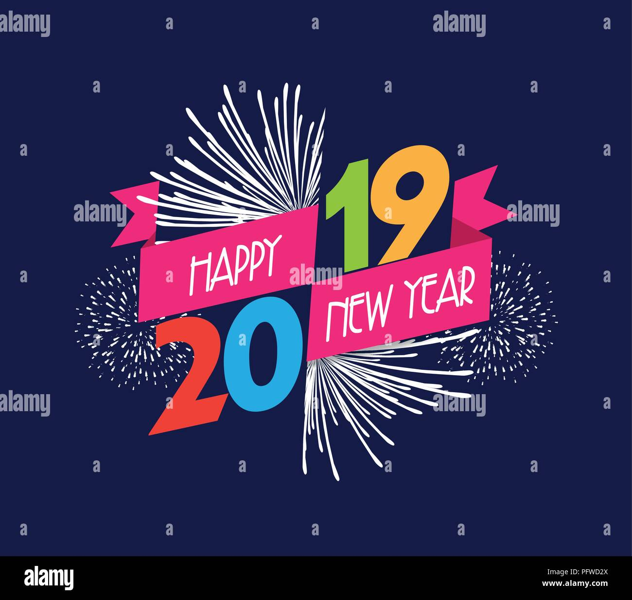 Vector illustration of fireworks. Happy new year 2019 background - Stock Vector