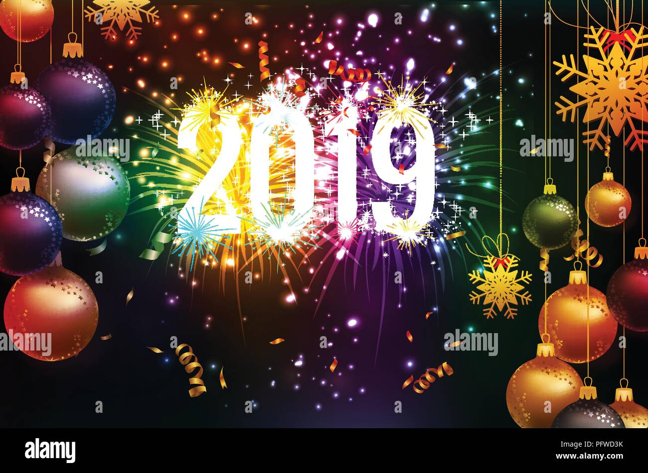 happy new year 2019 background with christmas confetti gold and fireworks