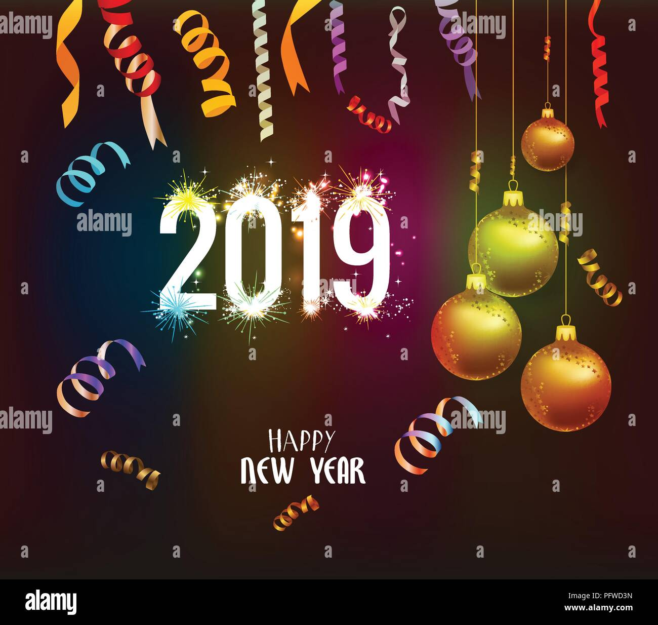 happy new year 2019 background with christmas confetti gold and black colors lace for text