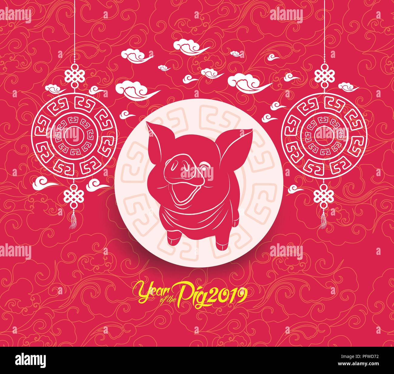 oriental chinese new year background year of the pig