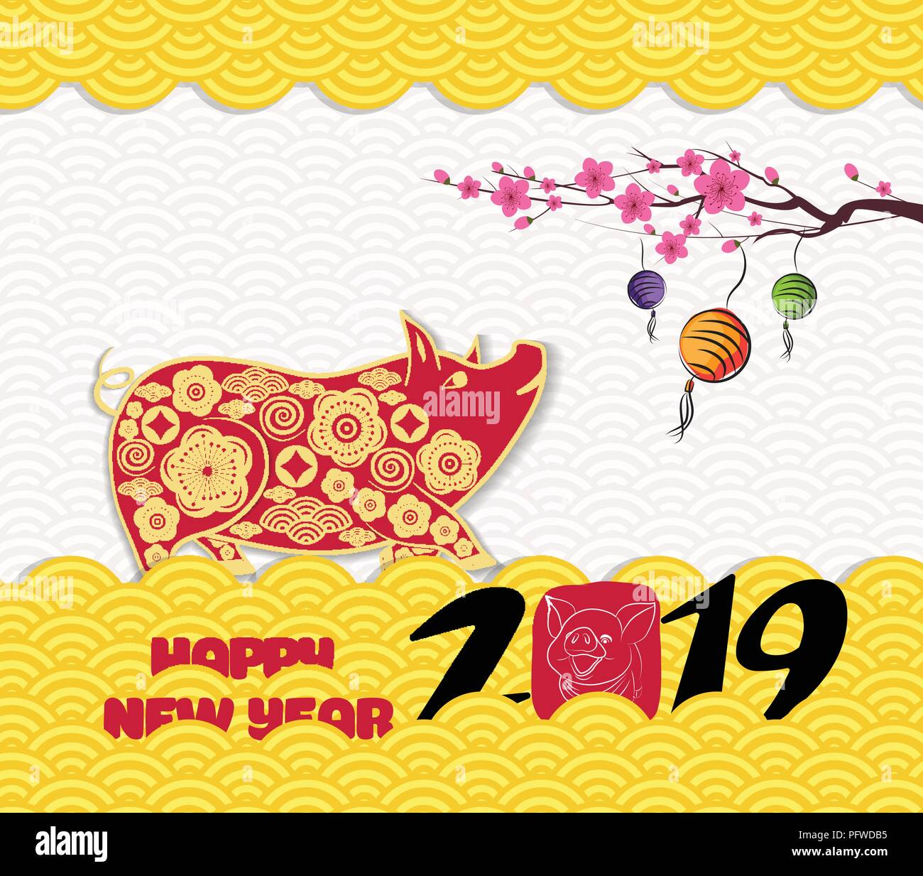 2019 chinese new year greeting card with traditionlal pattern border year of the pig
