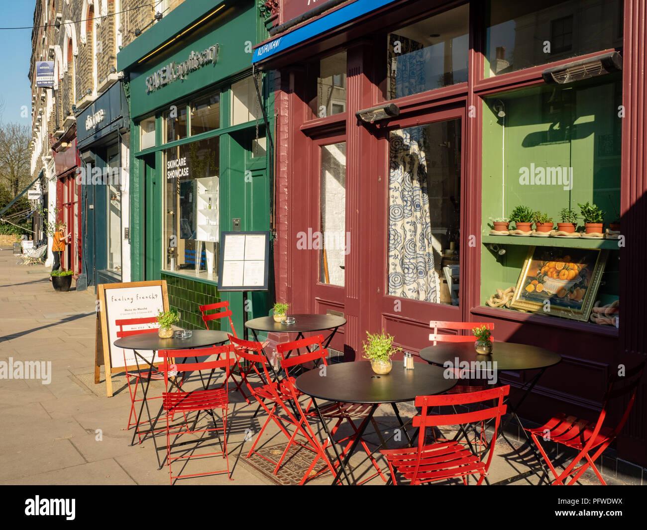 Shops along Regents Park Road, Primrose Hill, North West London, UK, - Stock Image