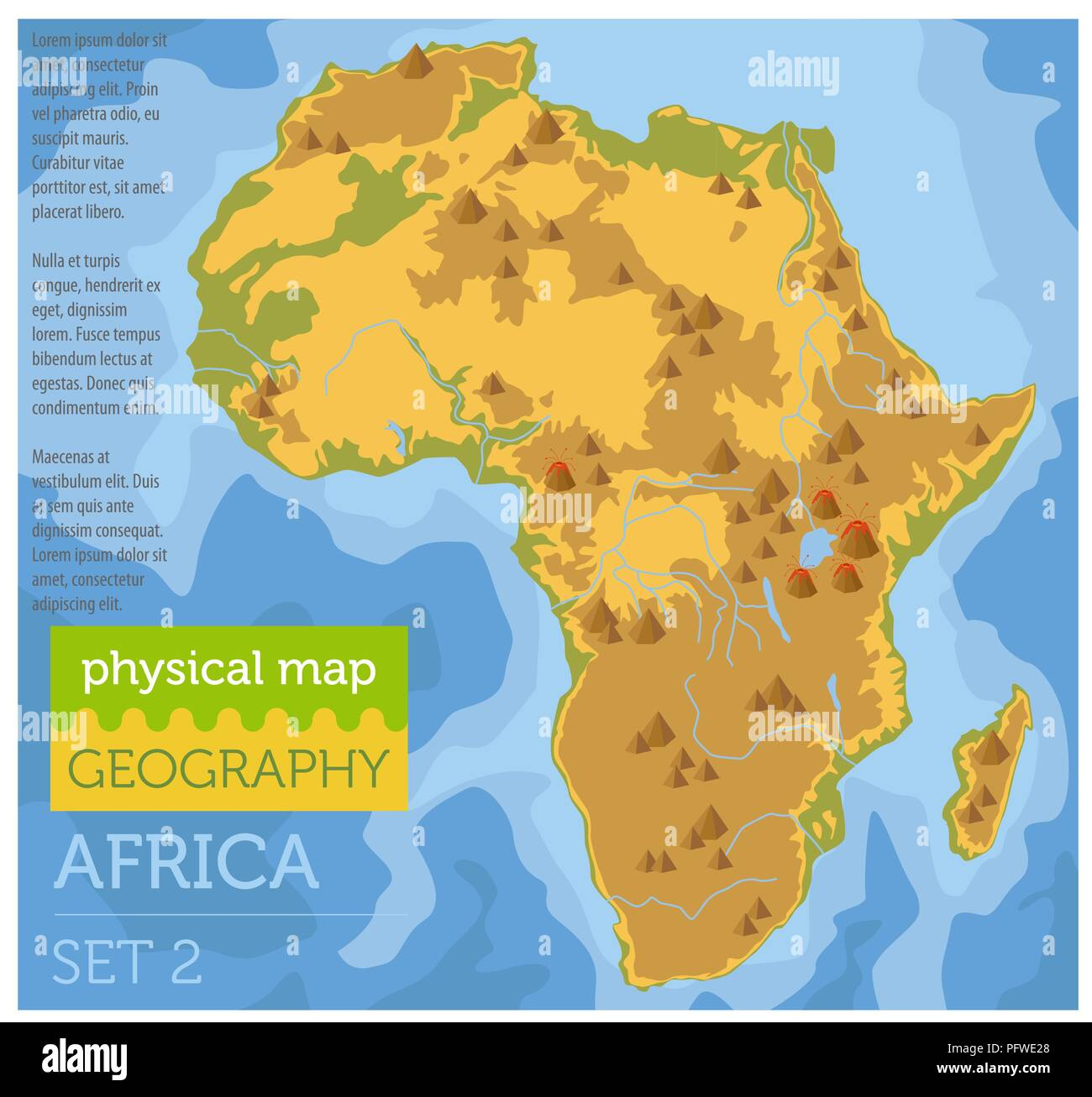 Map Of Africa Geography.Flat Africa Physical Map Constructor Elements On The Water