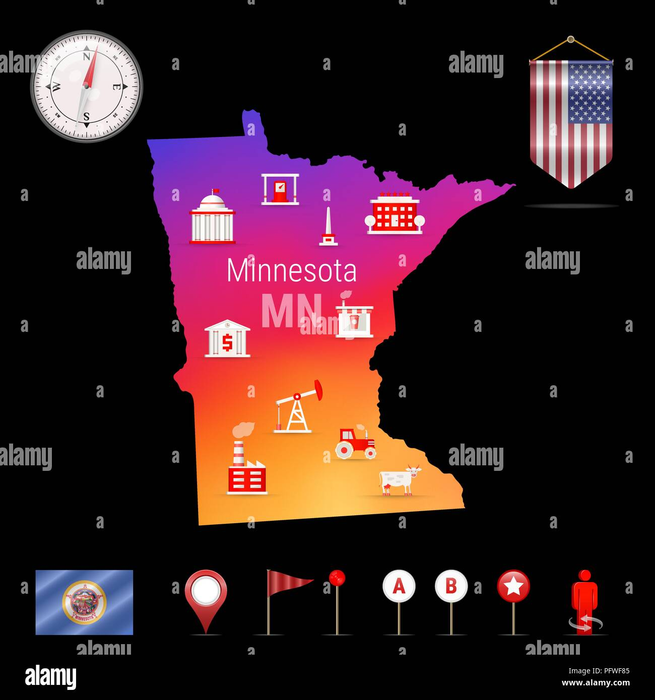 Minnesota Vector Map, Night View. Compass Icon, Map Navigation Elements. Pennant Flag of the United States. Vector Flag of Minnesota. Various Industries, Economic Geography Icons. - Stock Vector