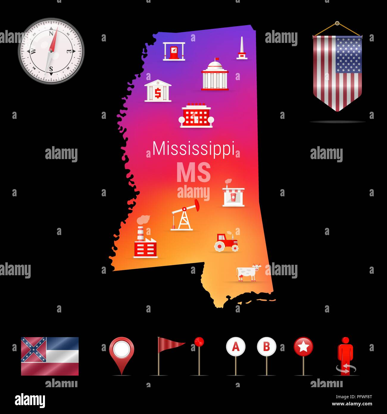 Mississippi Vector Map, Night View. Compass Icon, Map Navigation Elements. Pennant Flag of the United States. Vector Flag of Mississippi. Various Industries, Economic Geography Icons. - Stock Vector