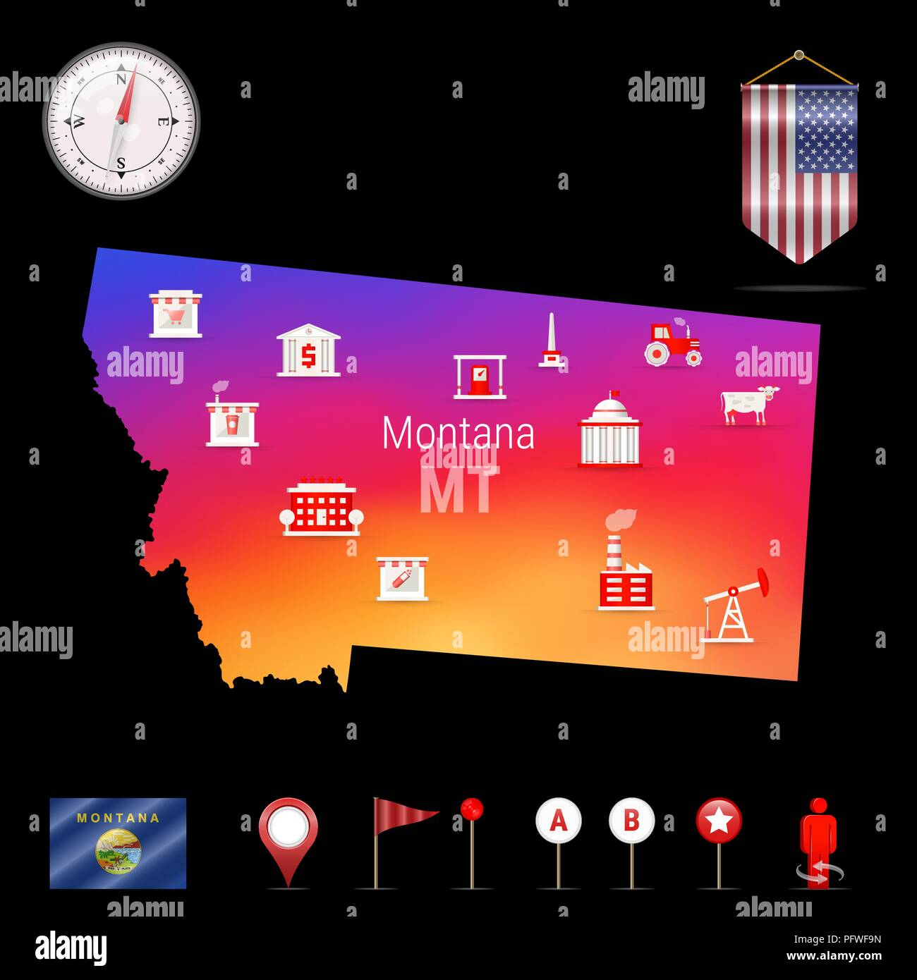 Montana Vector Map, Night View. Compass Icon, Map Navigation Elements. Pennant Flag of the United States. Vector Flag of Montana. Various Industries, Economic Geography Icons. - Stock Vector