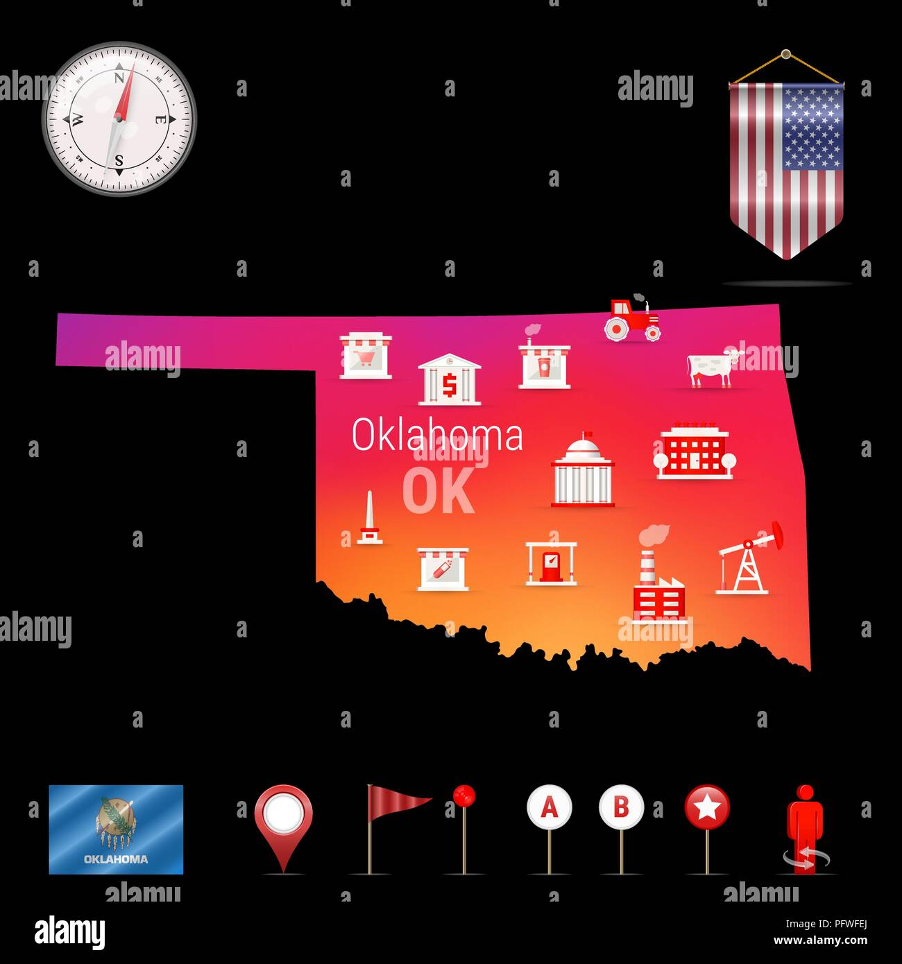 Oklahoma Vector Map, Night View  Compass Icon, Map Navigation