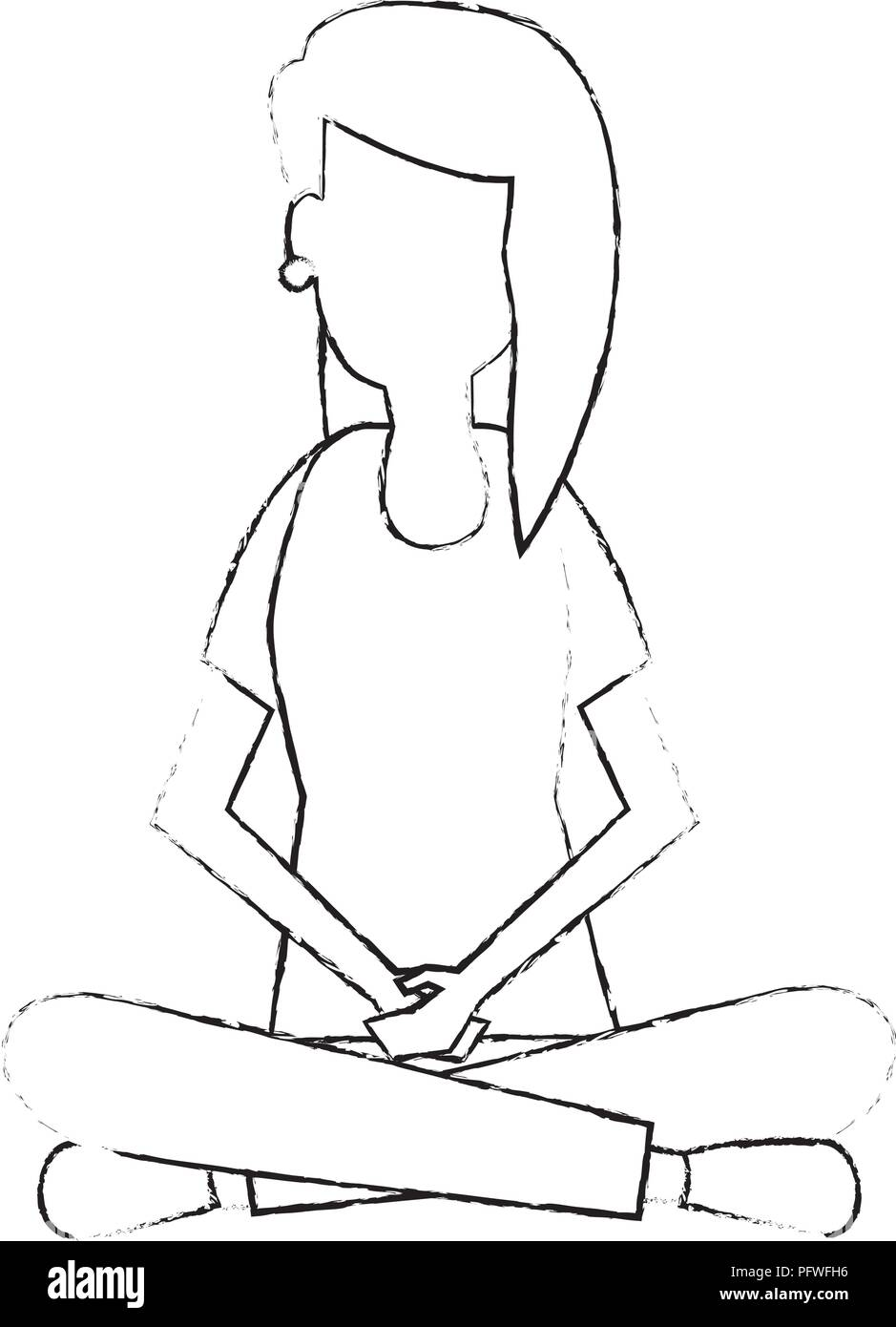 young woman sitting lotus pose - Stock Image