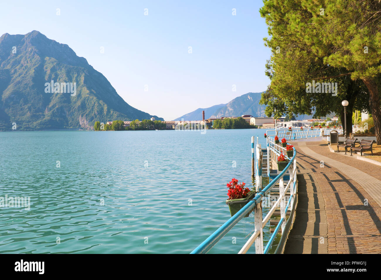 Beautiful mountain lake front at Lovere, Lake Iseo, Italy - Stock Image