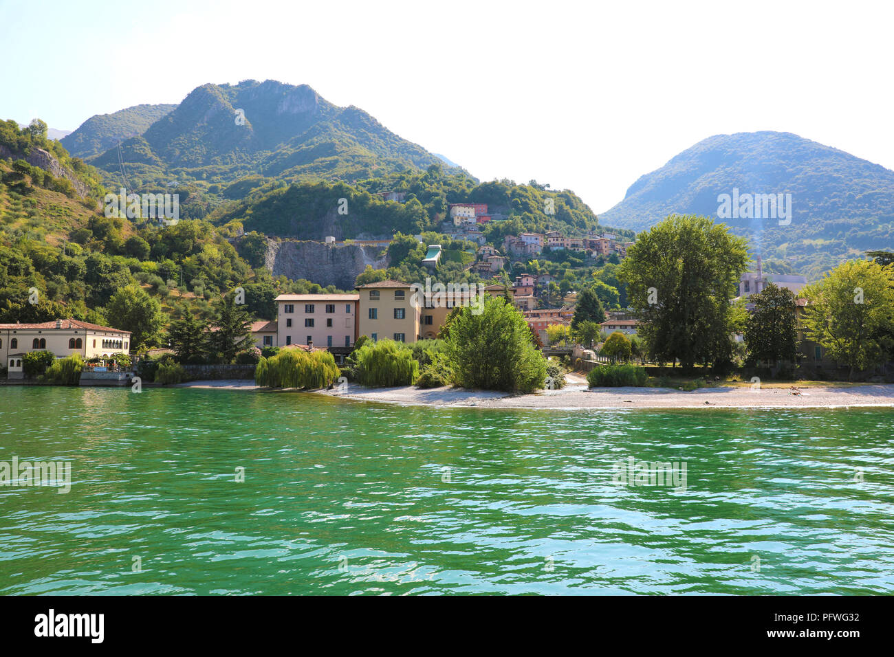 Small village on Lake Iseo, Italy Stock Photo