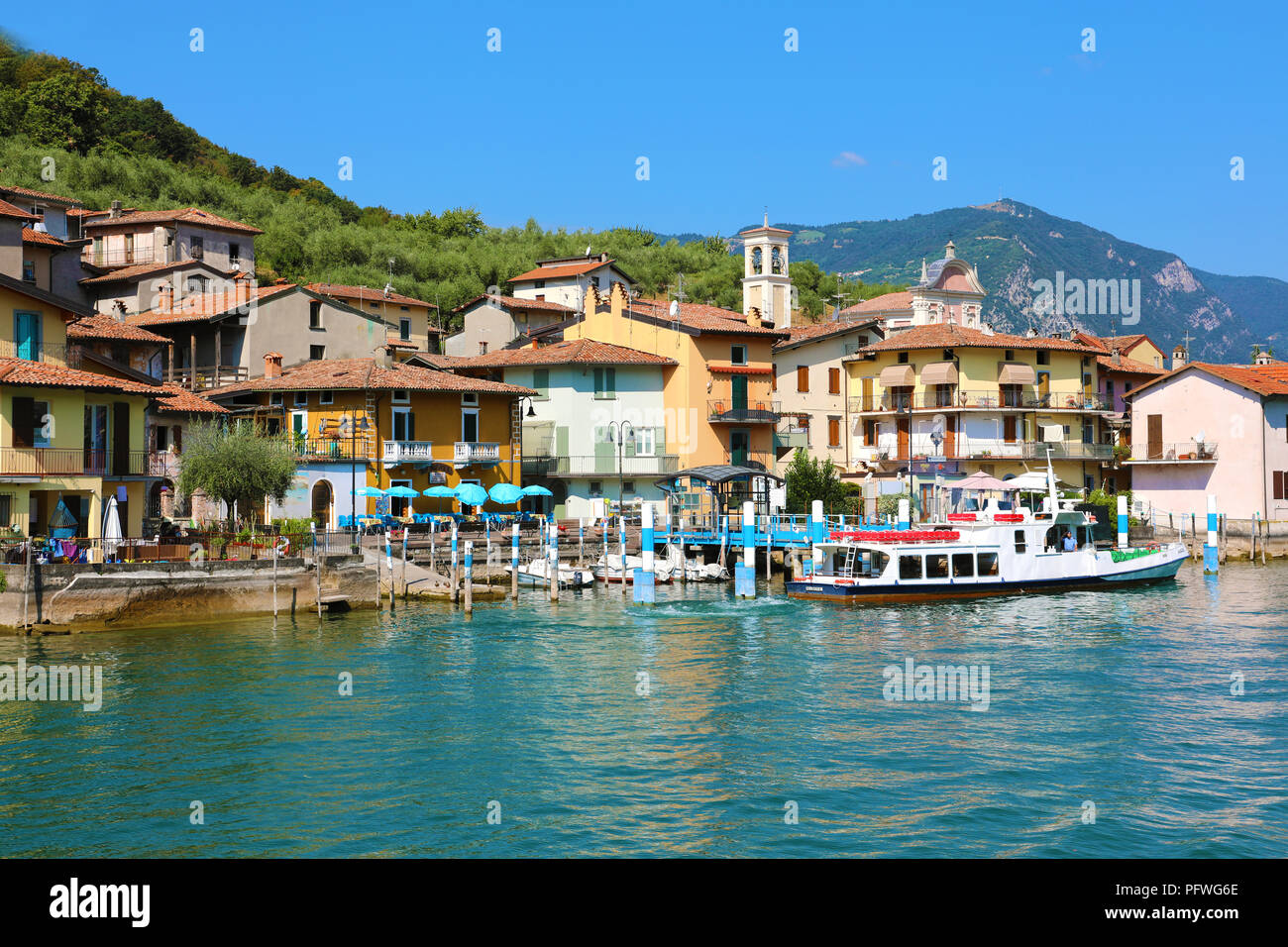 MONTE ISOLA, ITALY - AUGUST 20, 2018: view of the small village of Carzano on Monte Isola island in the middle of Lake Iseo, Italy Stock Photo