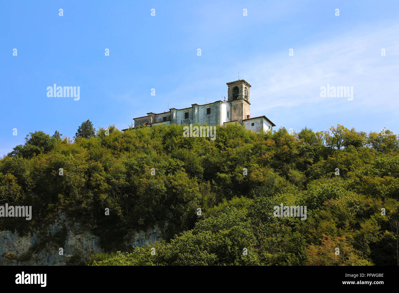 Beautiful view of the Sanctuary Madonna della Ceriola on the top of the Monte Isola Island, Lombardy, Italy - Stock Image