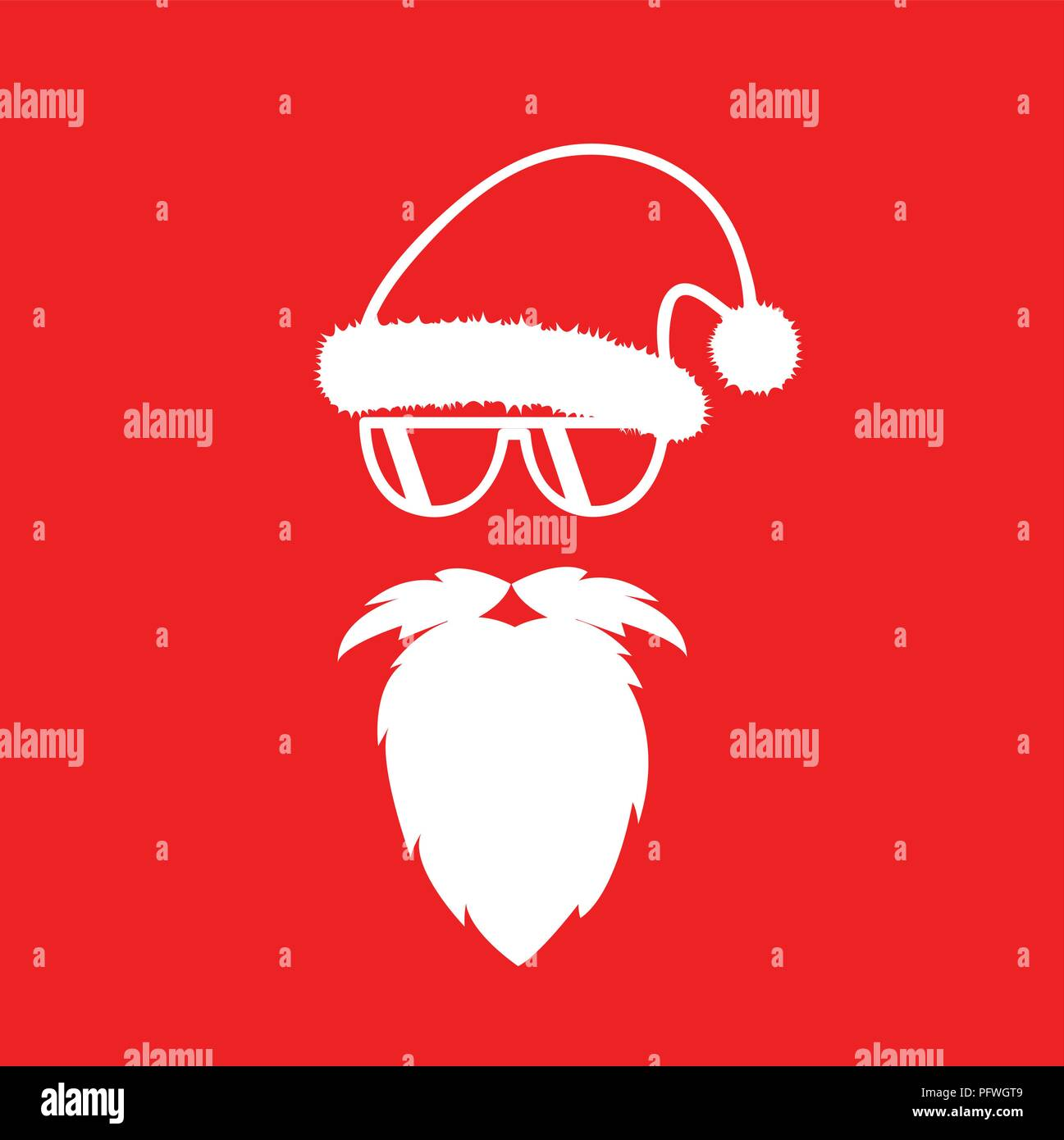 4f31c14f883 hipster Santa Claus with cool glasses red background vector illustartion  EPS10