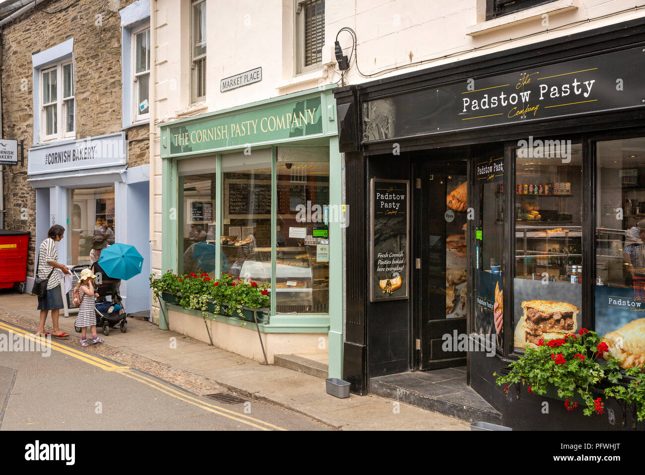 , three Cornish pastie shops next to each other Stock Photo