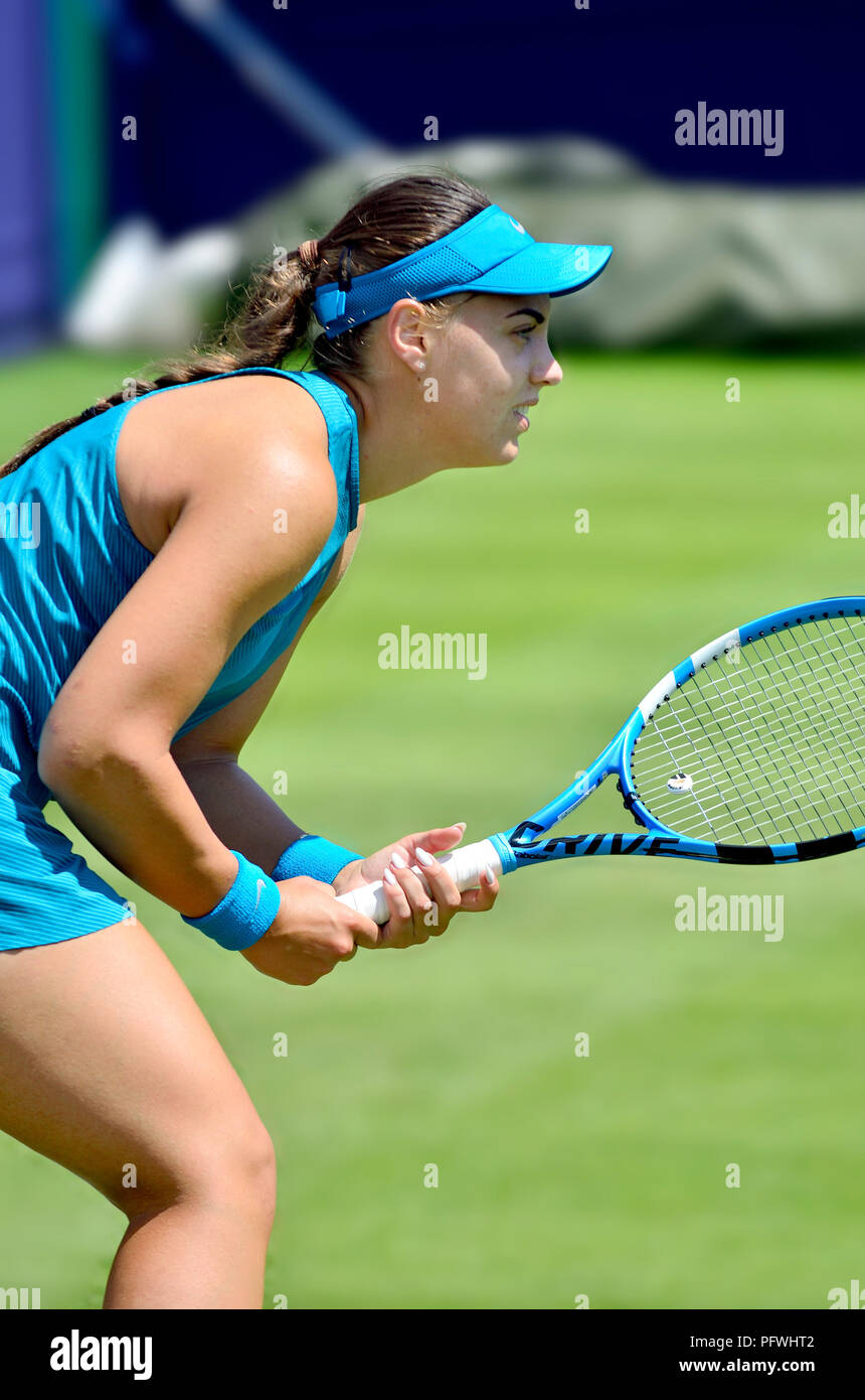 Bernarda Pera (Croatian-American) playing in the first qualifying round of the Nature Valley International, Eastbourne 22nd June 2018 - Stock Image