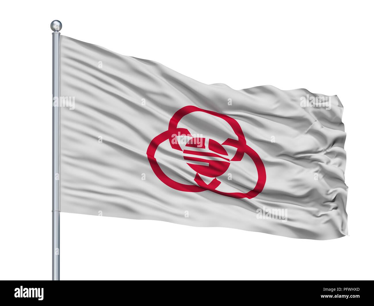Sagamihara City Flag On Flagpole, Japan, Kanagawa Prefecture, Isolated On White Background - Stock Image
