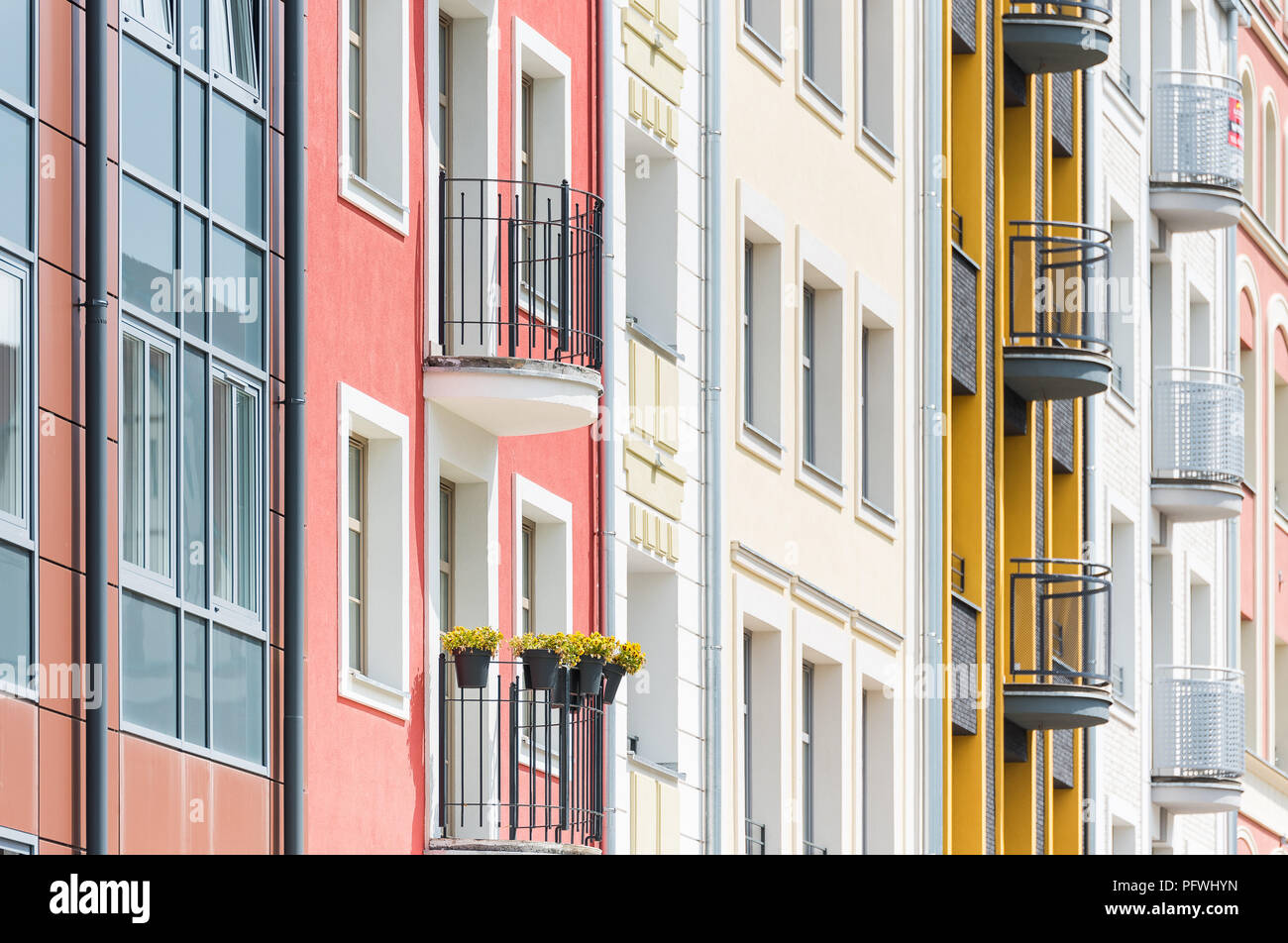 Beautiful old town apartments in the city of Elblag . - Stock Image