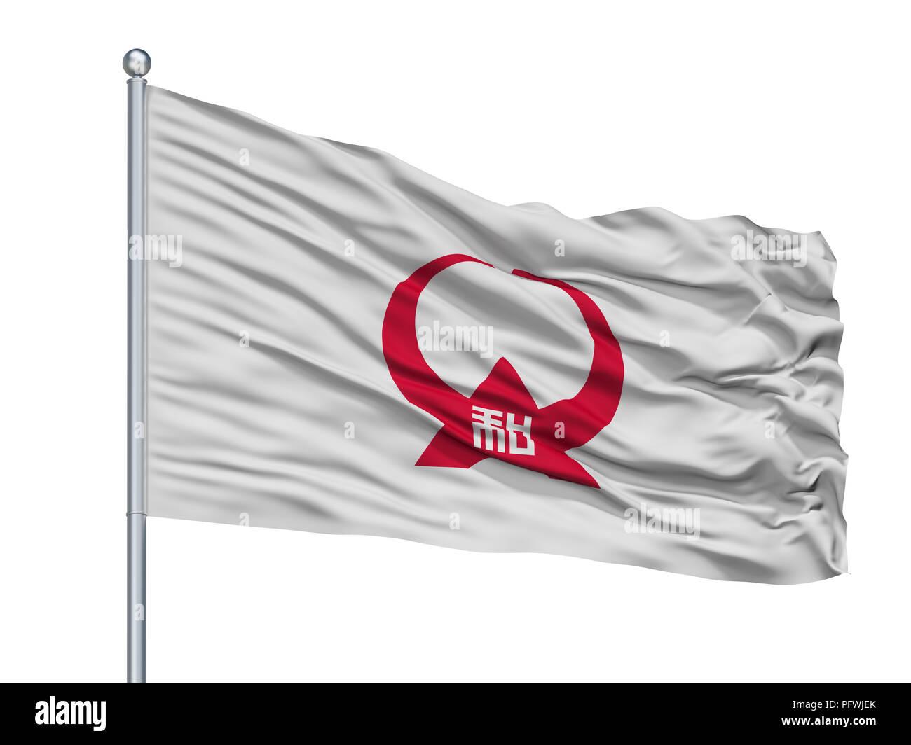 Yamato City Flag On Flagpole, Japan, Kanagawa Prefecture, Isolated On White Background - Stock Image