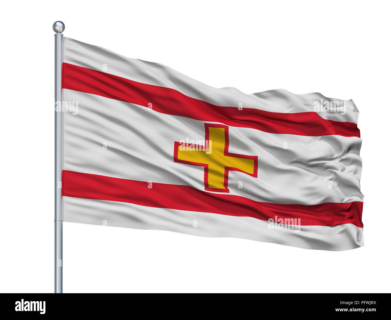 Kota Kinabalu City Flag On Flagpole, Malaysia, Isolated On White Background - Stock Image