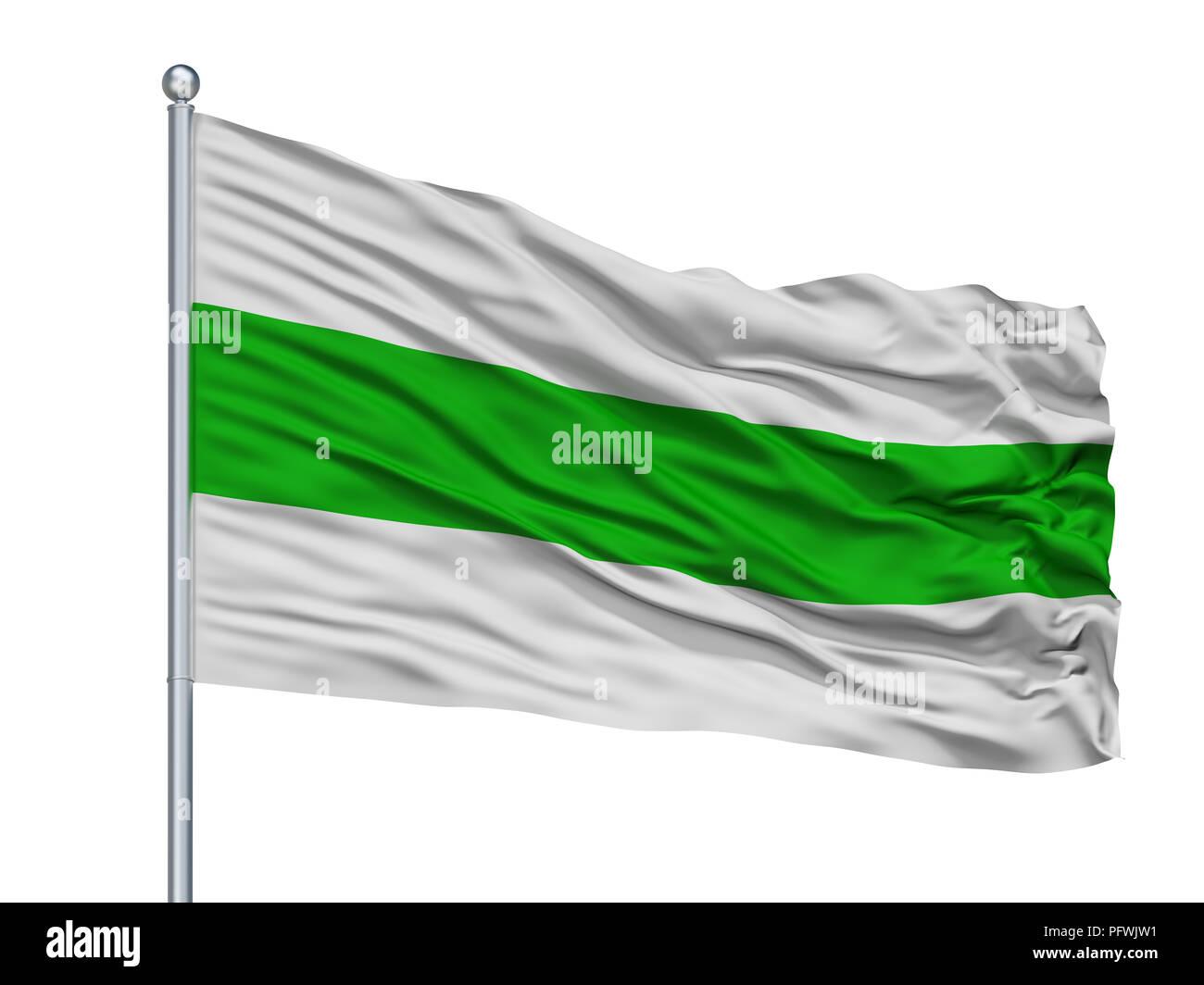 Aguascalientes City Flag On Flagpole, Mexico, Isolated On White Background - Stock Image