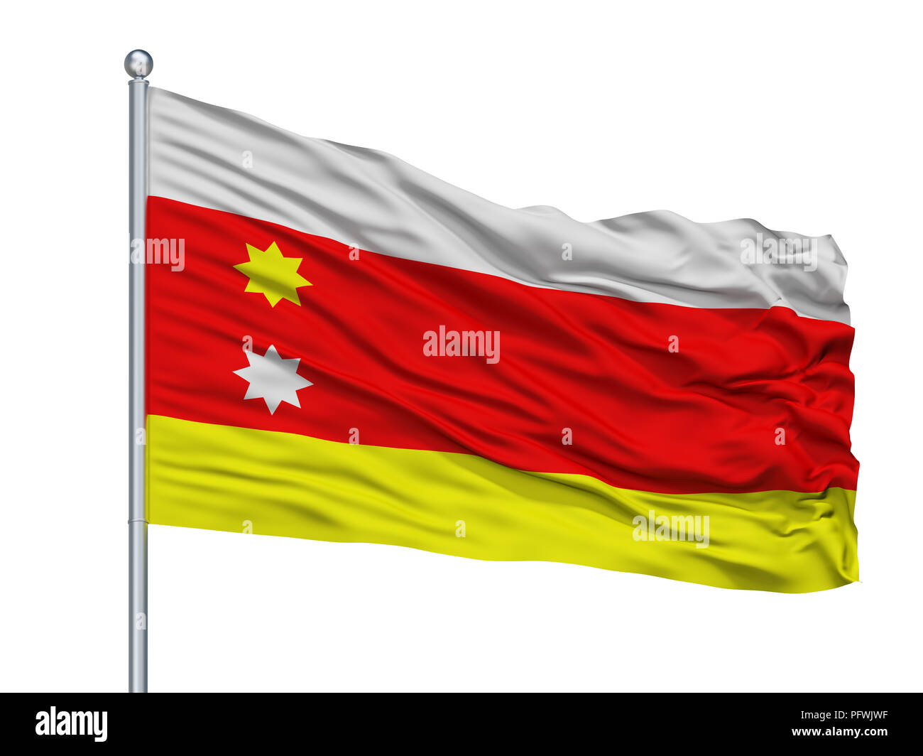 Tlaquepaque City Flag On Flagpole, Mexico, Isolated On White Background - Stock Image