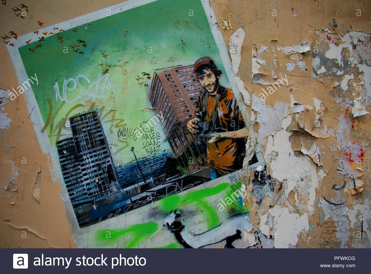 Time Warn Wall Painting In Paris Stock Photo 216308304 Alamy