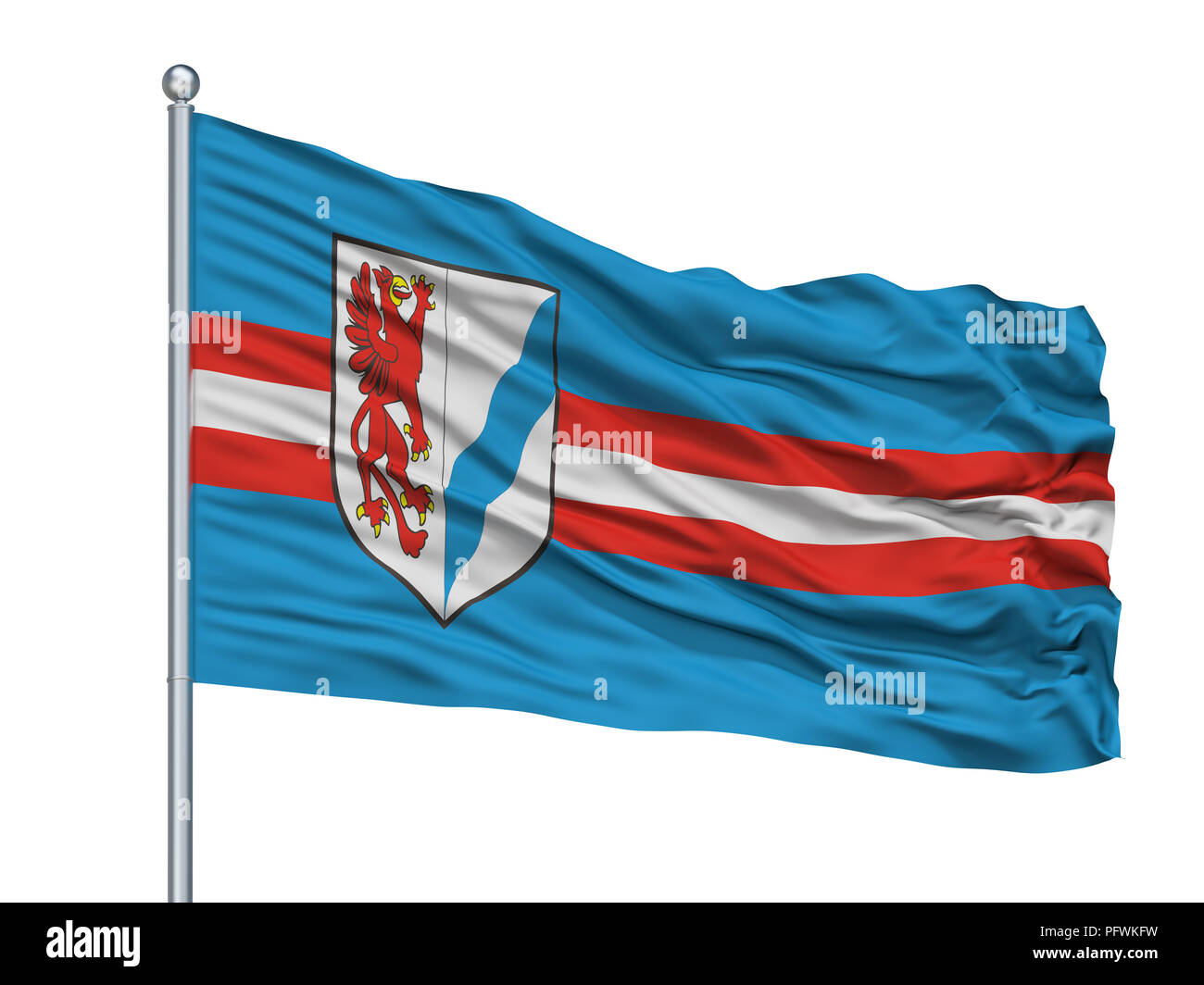 Rybnik City Flag On Flagpole, Poland, Isolated On White Background - Stock Image