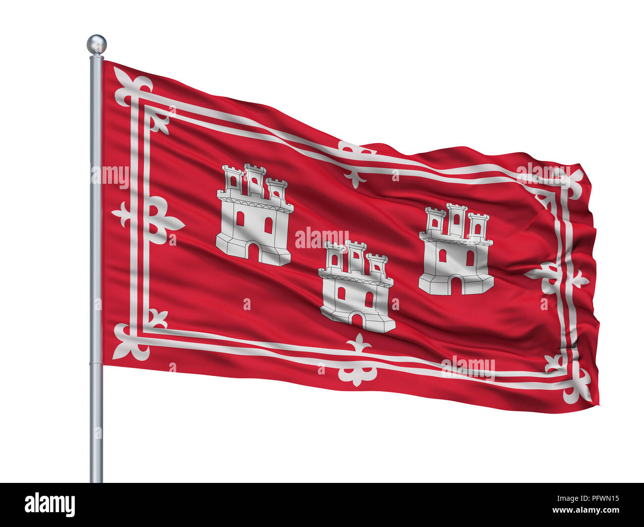 Taichung City Flag On Flagpole, Taiwan, Isolated On White Background - Stock Image