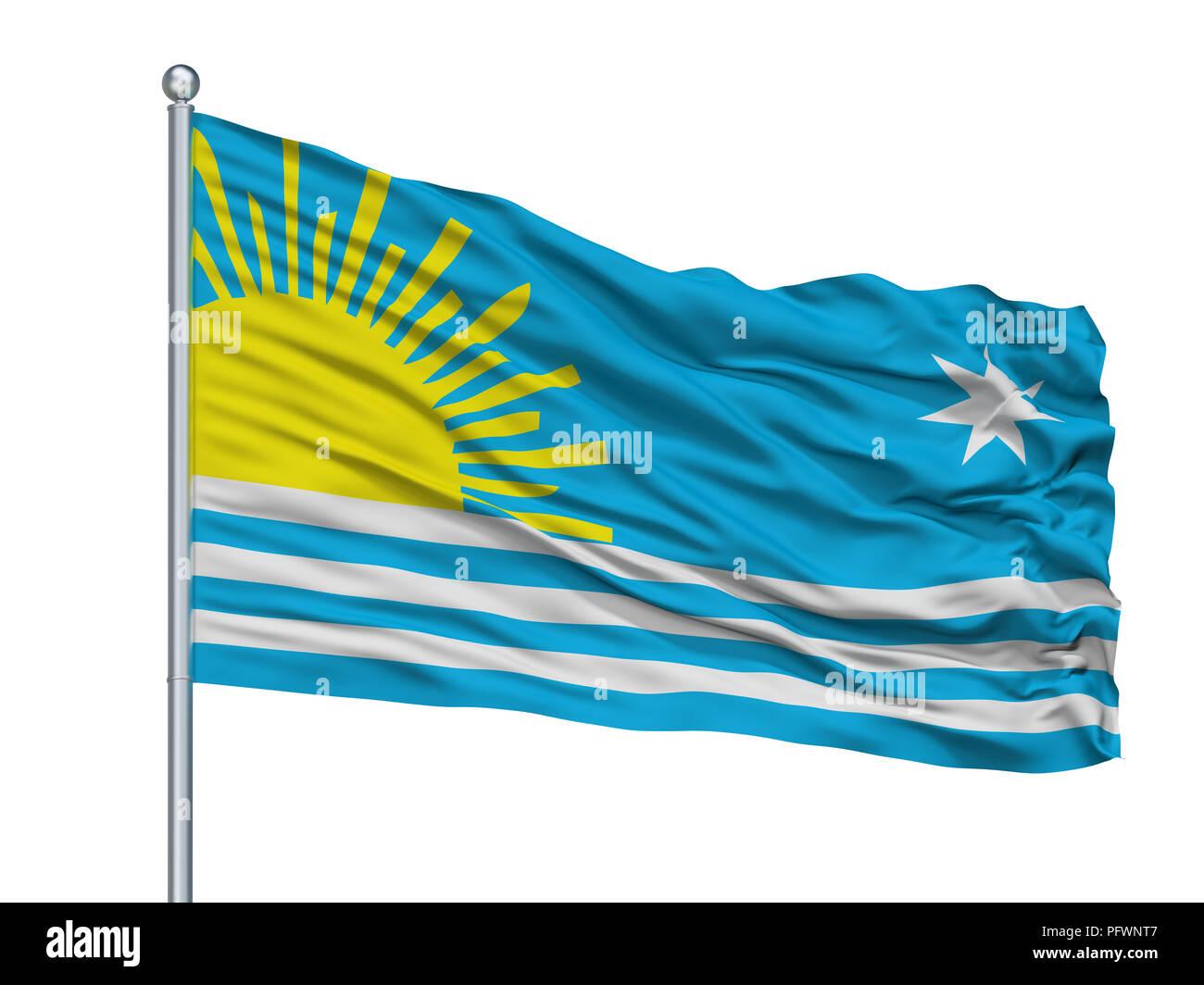 Maldonado City Flag On Flagpole, Uruguay, Isolated On White Background - Stock Image