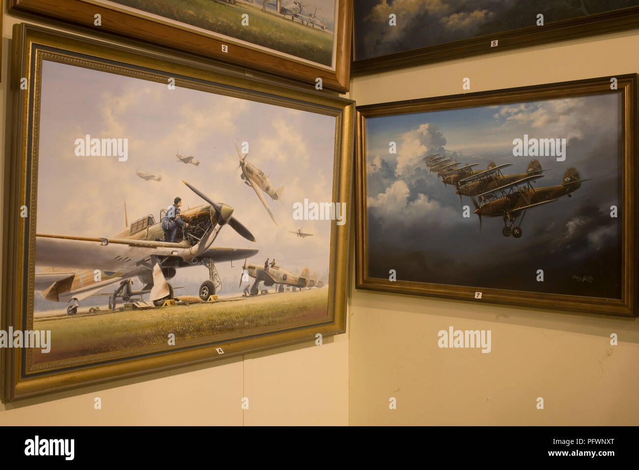 Paintings my military artist Chris Golds of Tangmere based squadrons in the late 1930s at Tangmere military aviation museum - Stock Image