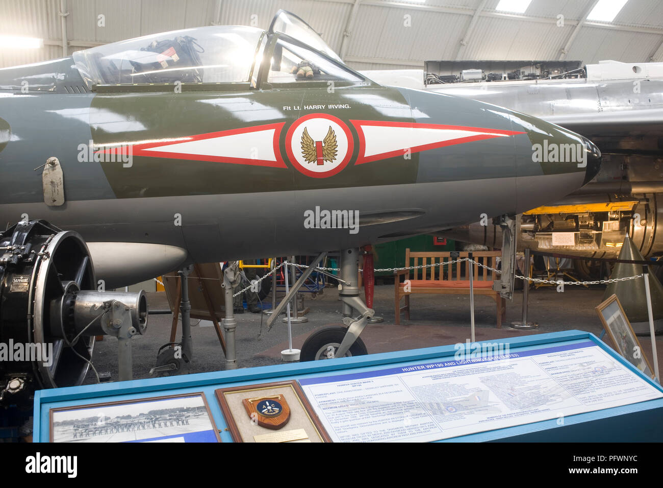 Cockpit and nose of Hawker Hunter Mk 5 aircraft in Meryl Hansed Memorial Hall at Tangmere militray aviation museum - Stock Image