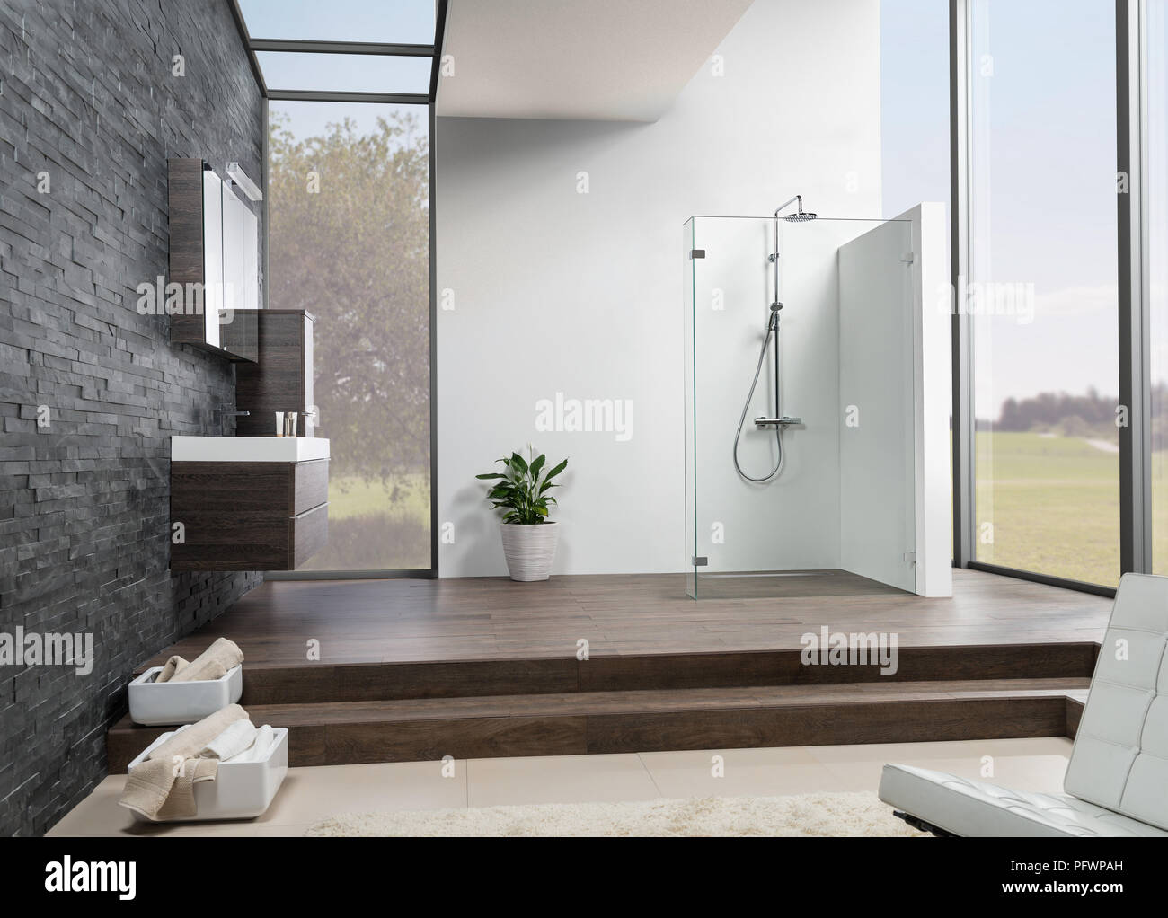 Modern Bathroom with black tiles, wooden floor and big windows Stock ...