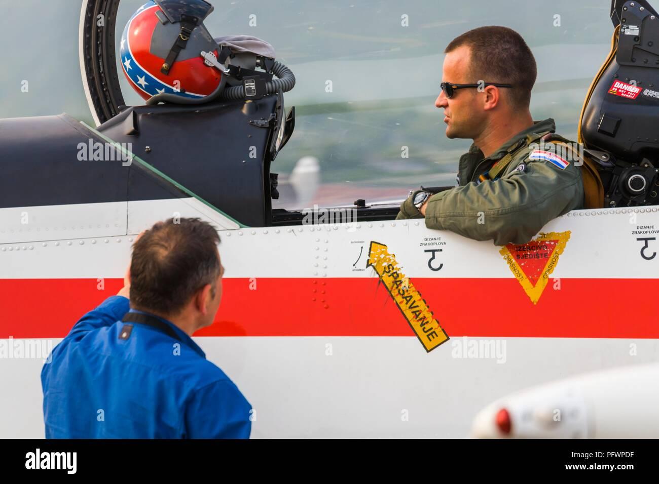 Krila oluje aerobatic group from Croatia Pilatus PC-9M PC9M PC9 2006 Grobnik near Rijeka Stock Photo