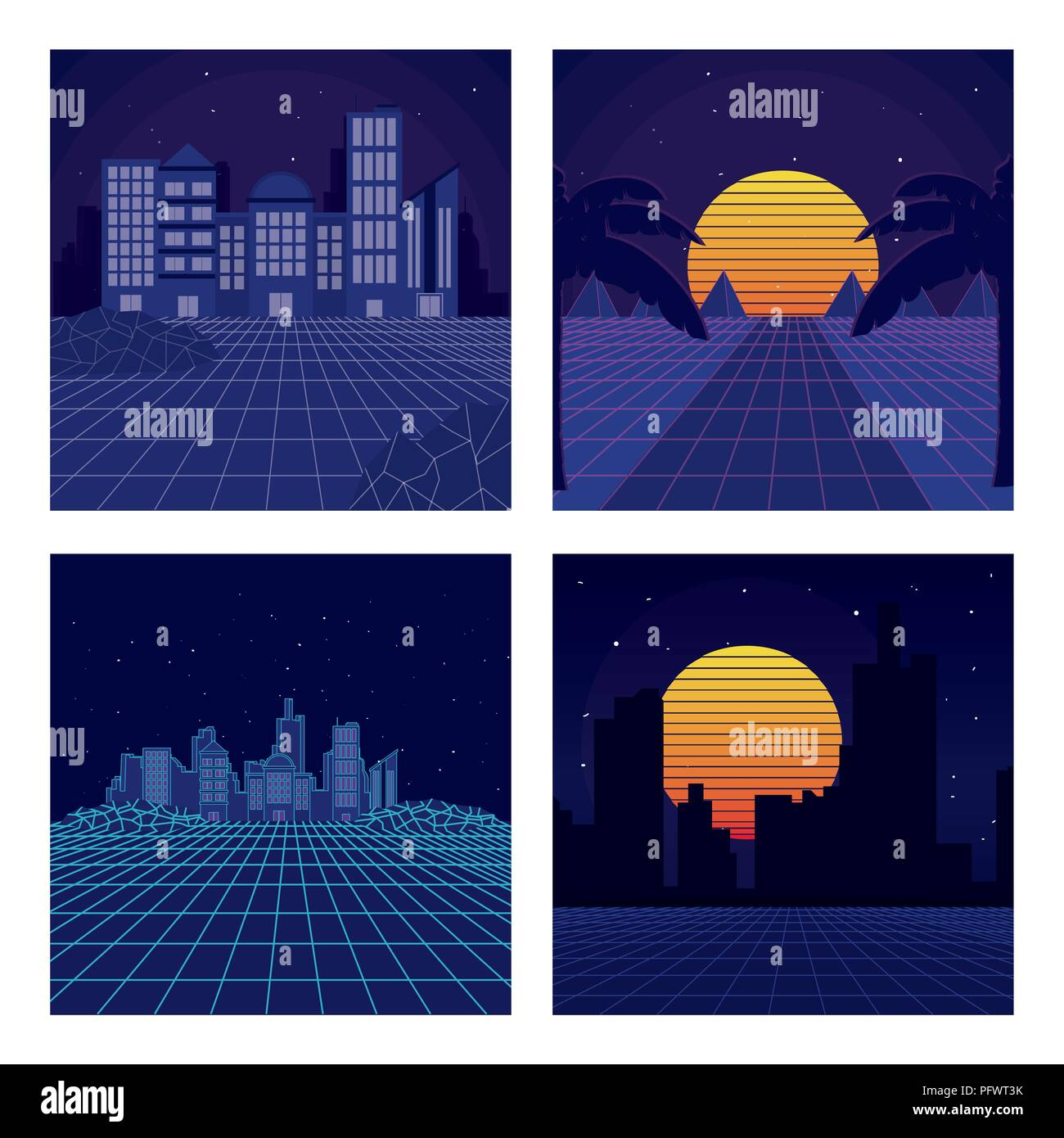 Set of sci fi backgrounds - Stock Image