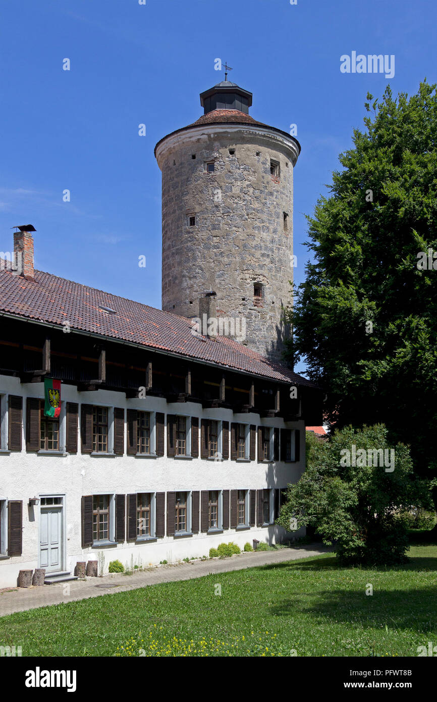 Appretur and Diebsturm (thief´s tower), Isny, Allgaeu, Baden-Wuerttemberg, Germany - Stock Image