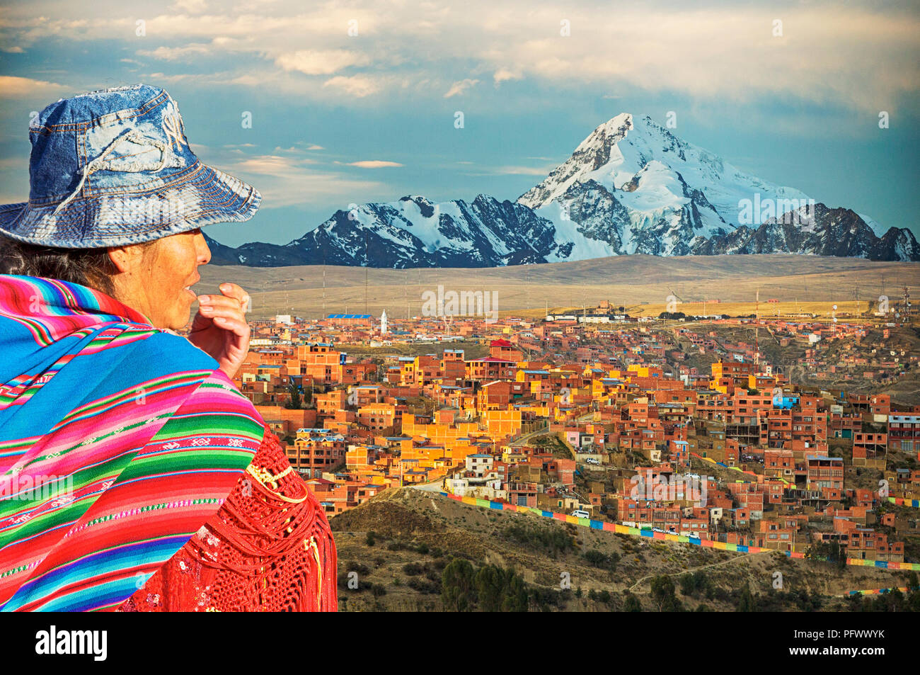 The peak of Huayna Potosi from El Alto above, La Paz, Bolivia. La Paz and El Alto are critically short of water and will probably be the first capital - Stock Image