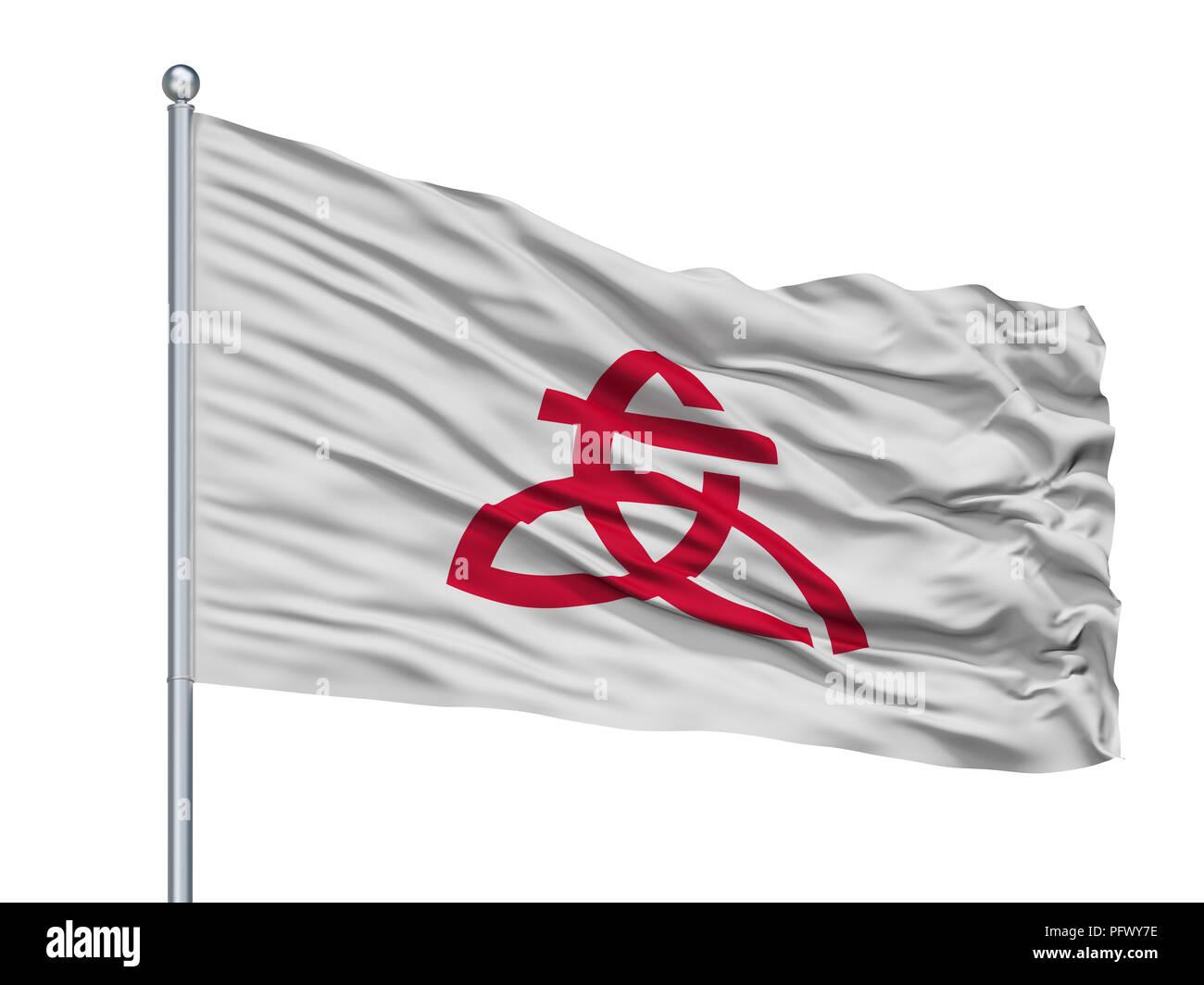 Atsugi City Flag On Flagpole, Japan, Kanagawa Prefecture, Isolated On White Background - Stock Image