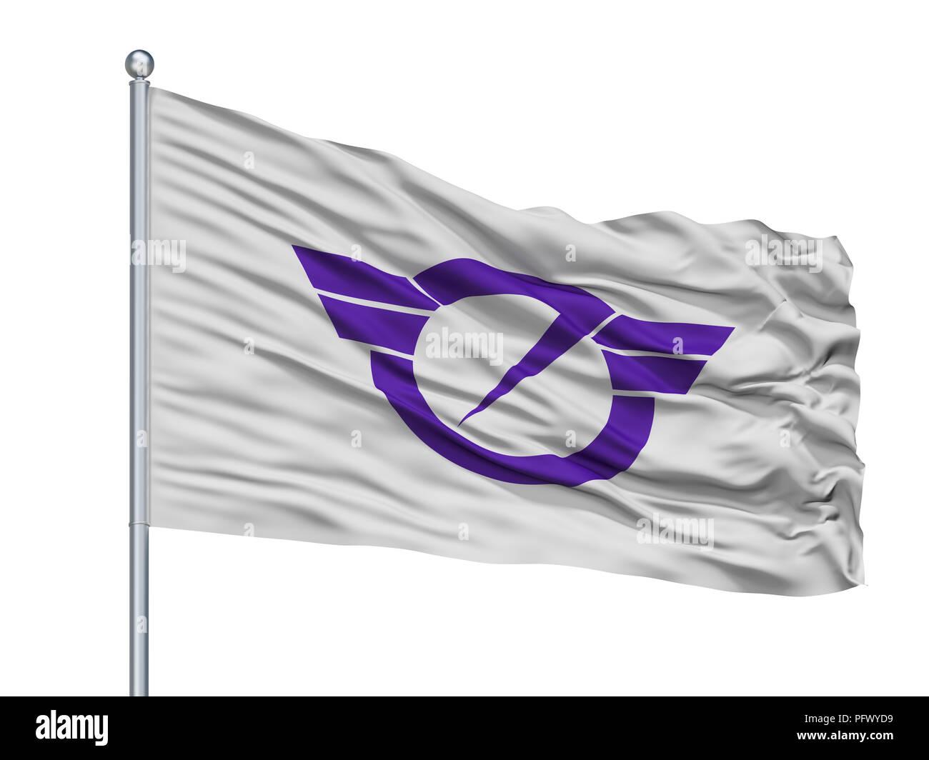 Fujisawa City Flag On Flagpole, Japan, Kanagawa Prefecture, Isolated On White Background - Stock Image