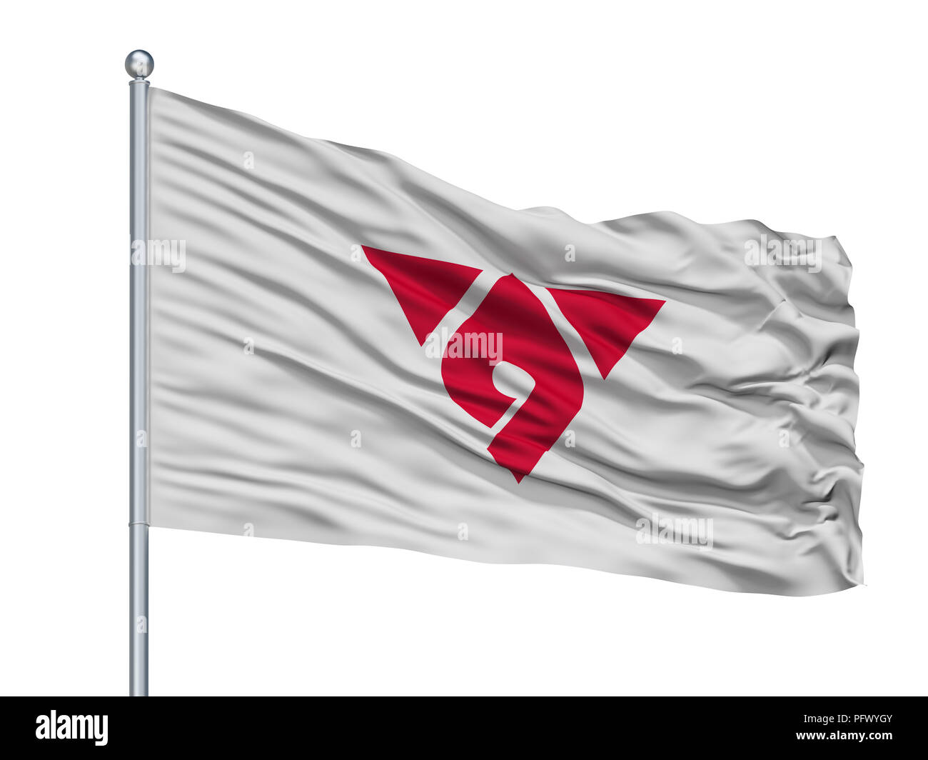 Hadano City Flag On Flagpole, Japan, Kanagawa Prefecture, Isolated On White Background - Stock Image