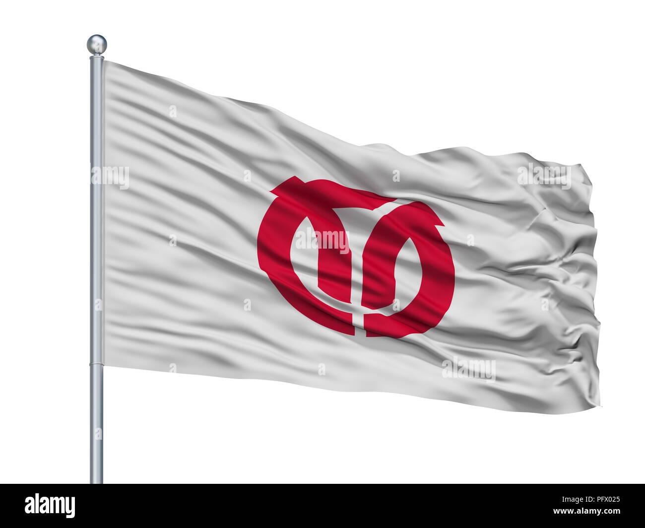 Isehara City Flag On Flagpole, Japan, Kanagawa Prefecture, Isolated On White Background - Stock Image