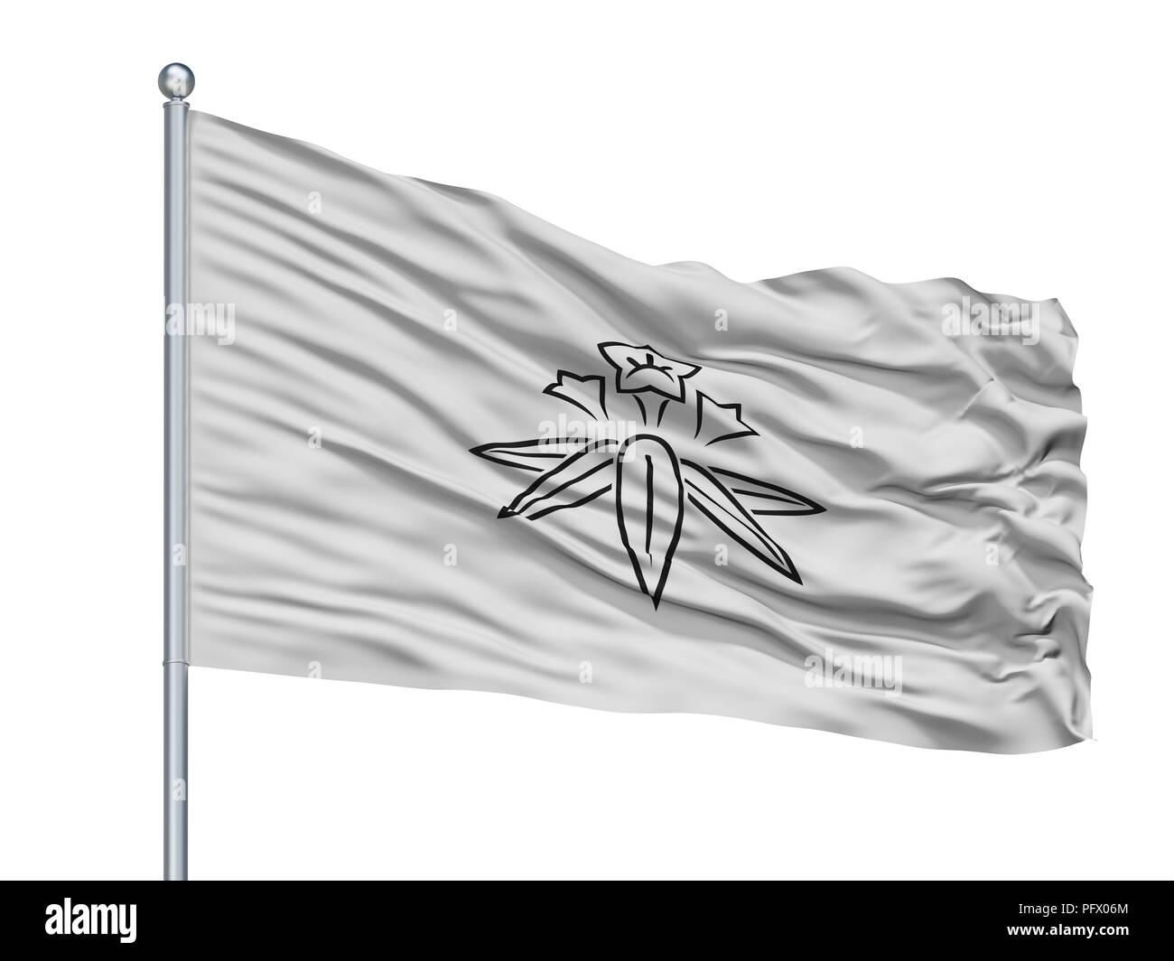 Kamakura City Flag On Flagpole, Japan, Kanagawa Prefecture, Isolated On White Background - Stock Image