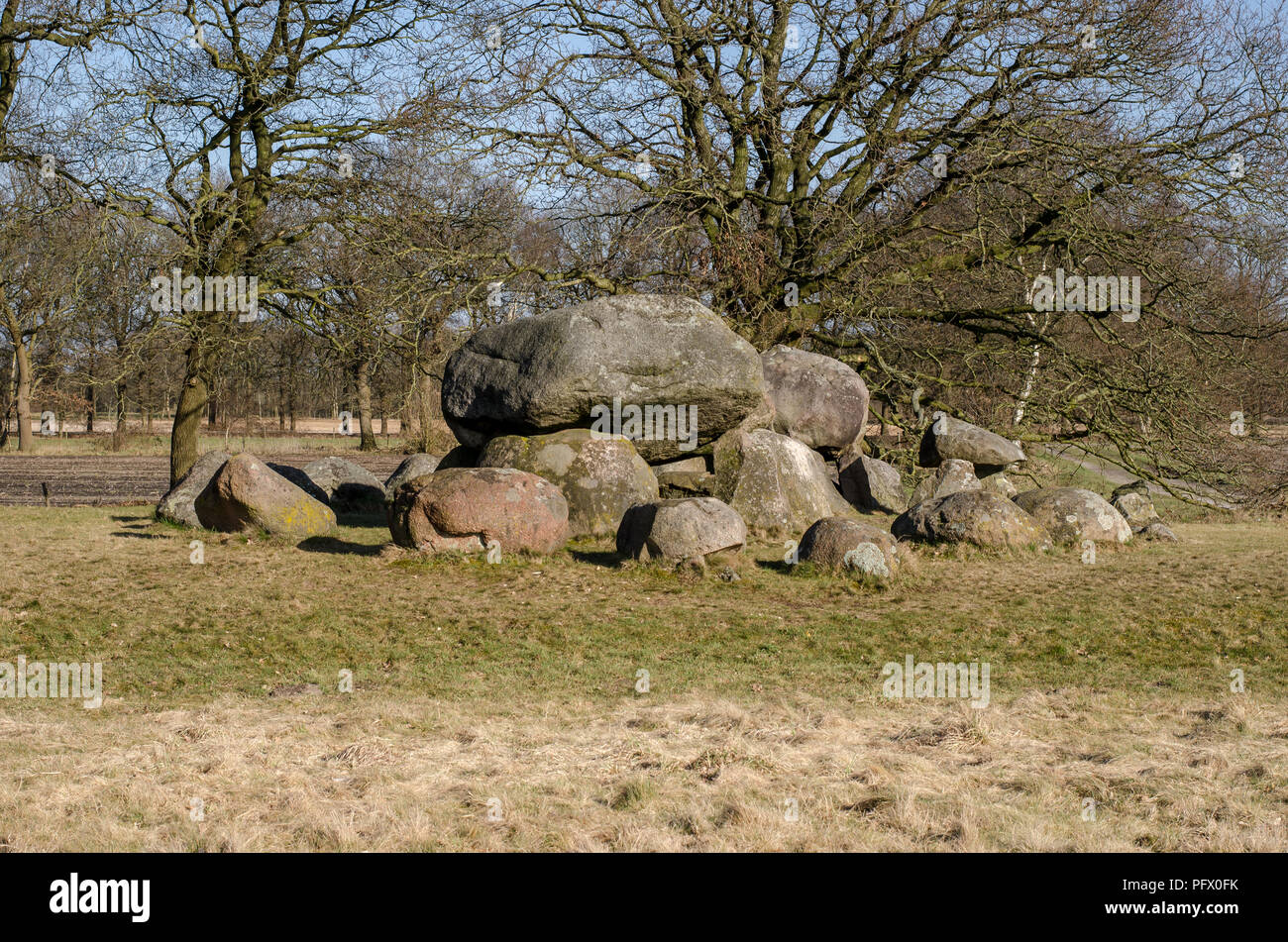 Old prehistorical tomb in Holland - Stock Image