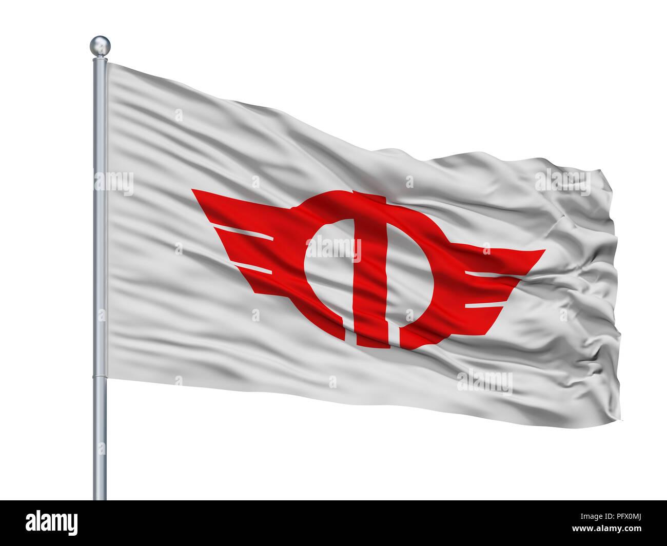 Minamiashigara City Flag On Flagpole, Japan, Kanagawa Prefecture, Isolated On White Background - Stock Image