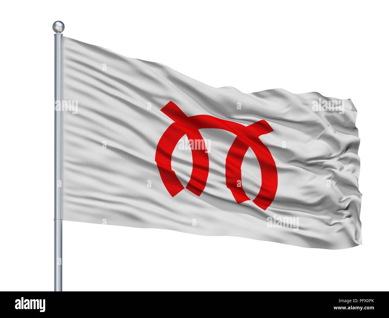 Miura City Flag On Flagpole, Japan, Kanagawa Prefecture, Isolated On White Background - Stock Image