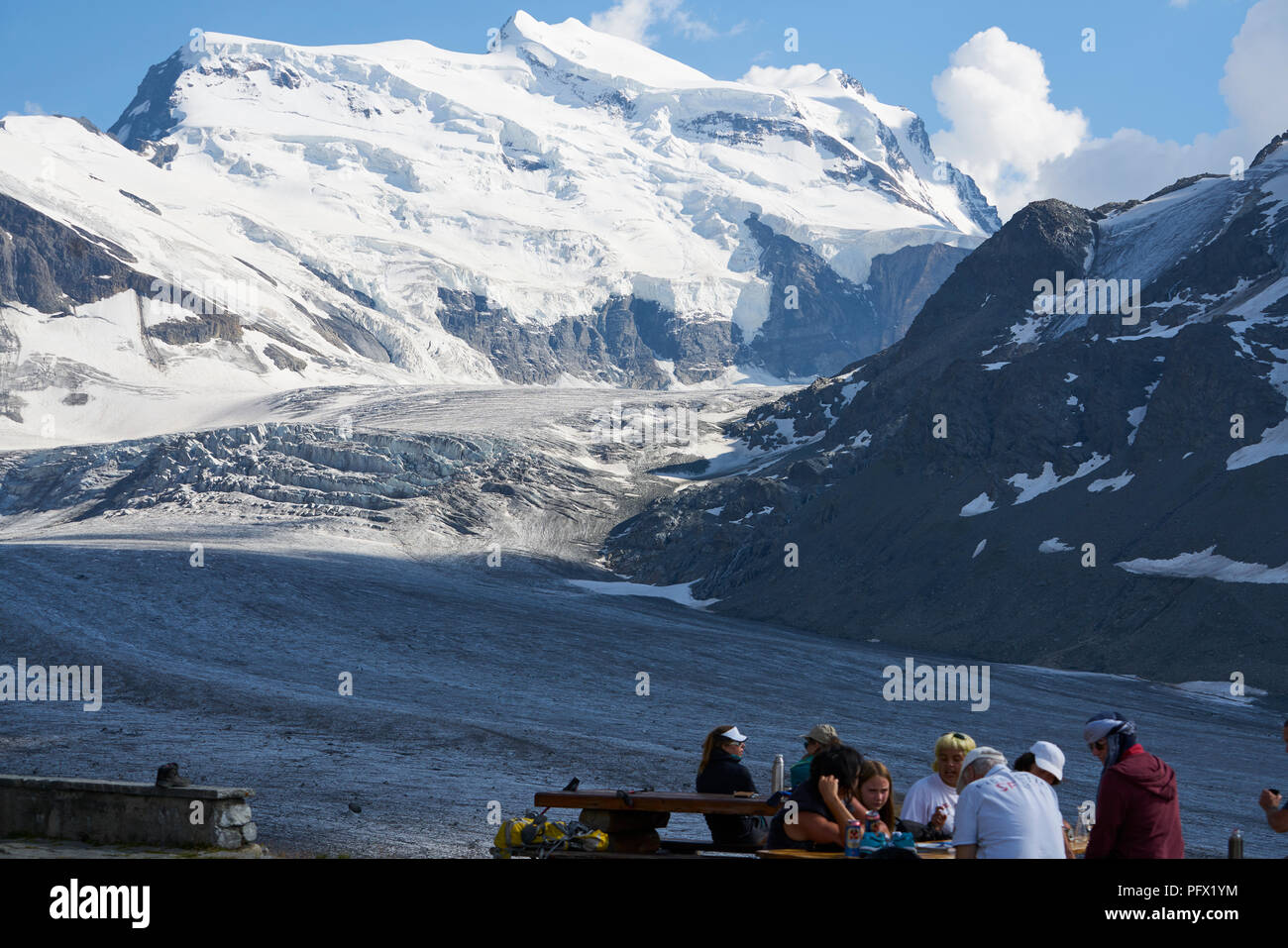 Corbassièere Glacier, tourists, Wallis, Switzerland - Stock Image
