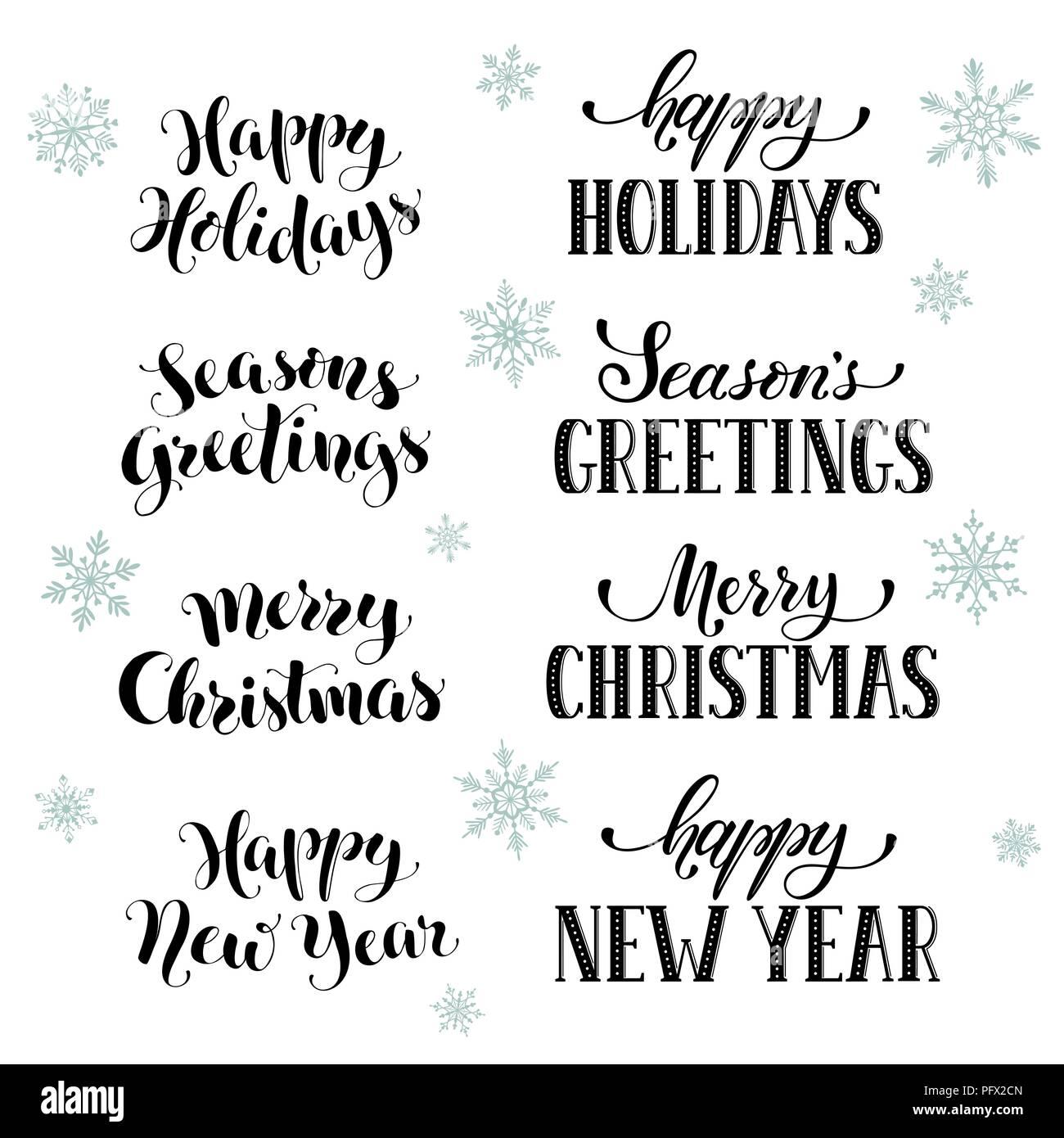 Happy Holidays Phrases Stock Vector Art Illustration Vector Image