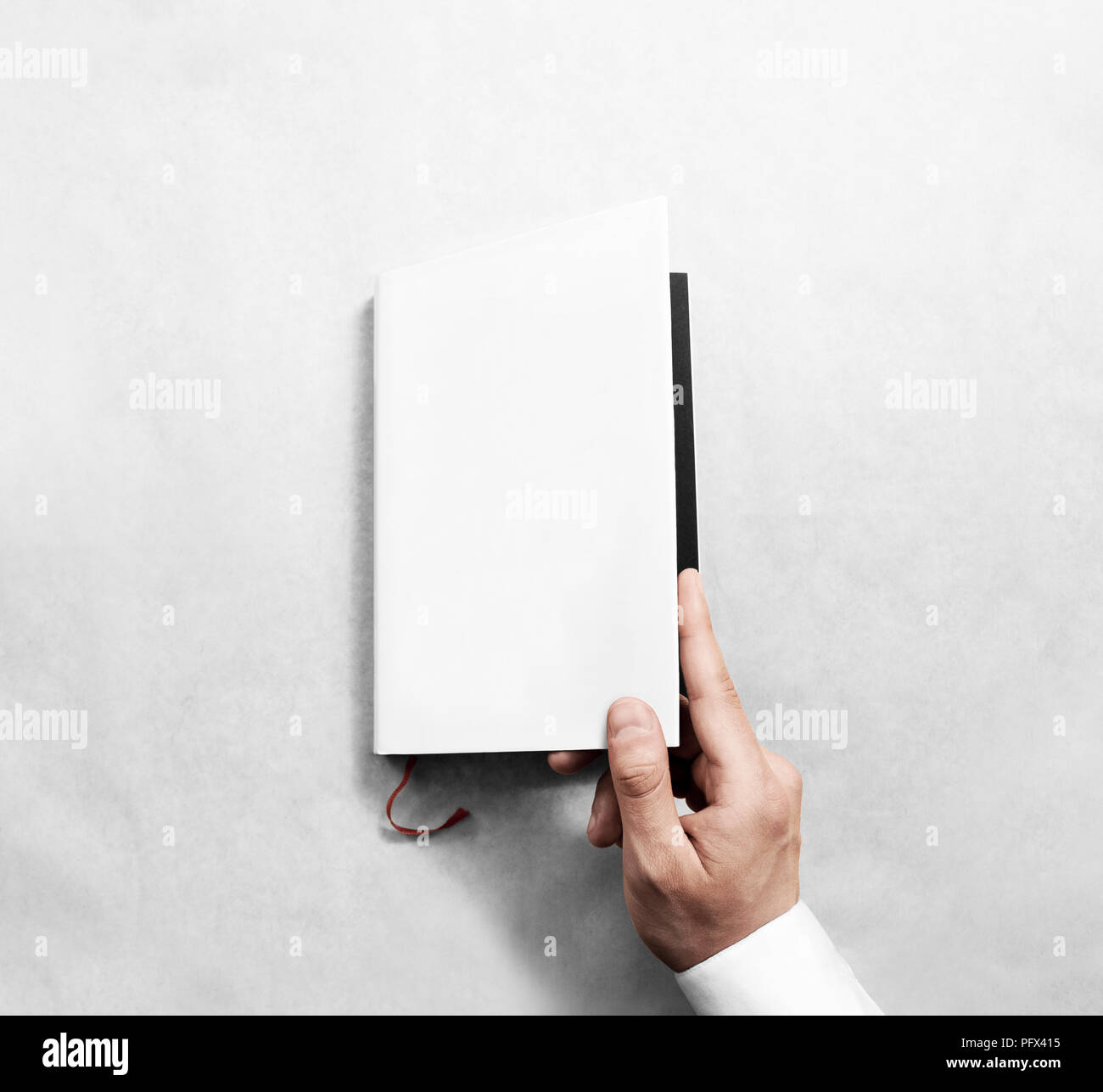 hand opening blank white book cover mockup template clear booklet