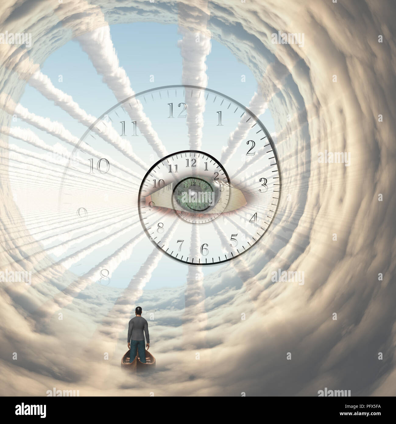 Figure of man in cloud's tunnel. God's eye and spiral of time. Stock Photo