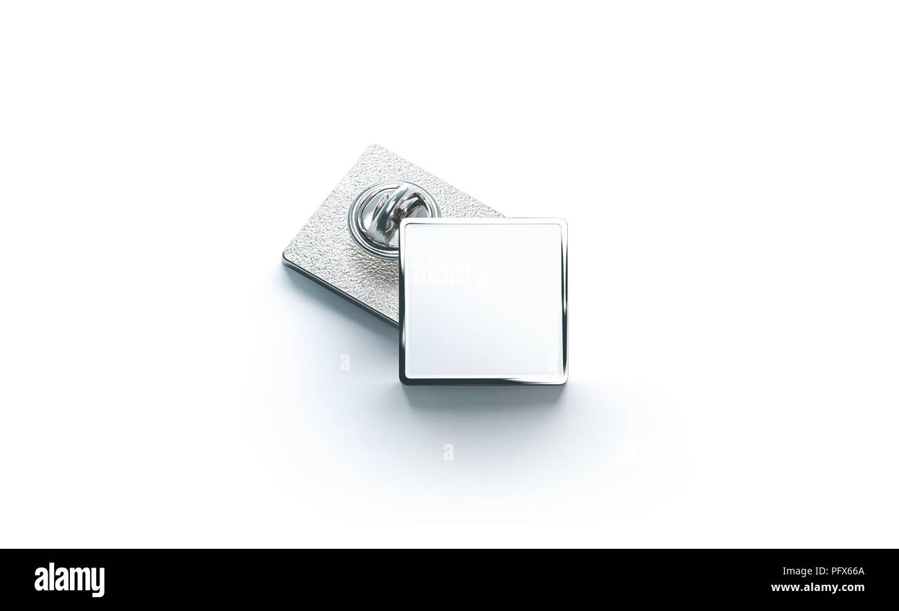 blank white silver lapel badge mock ups stack 3d rendering empty