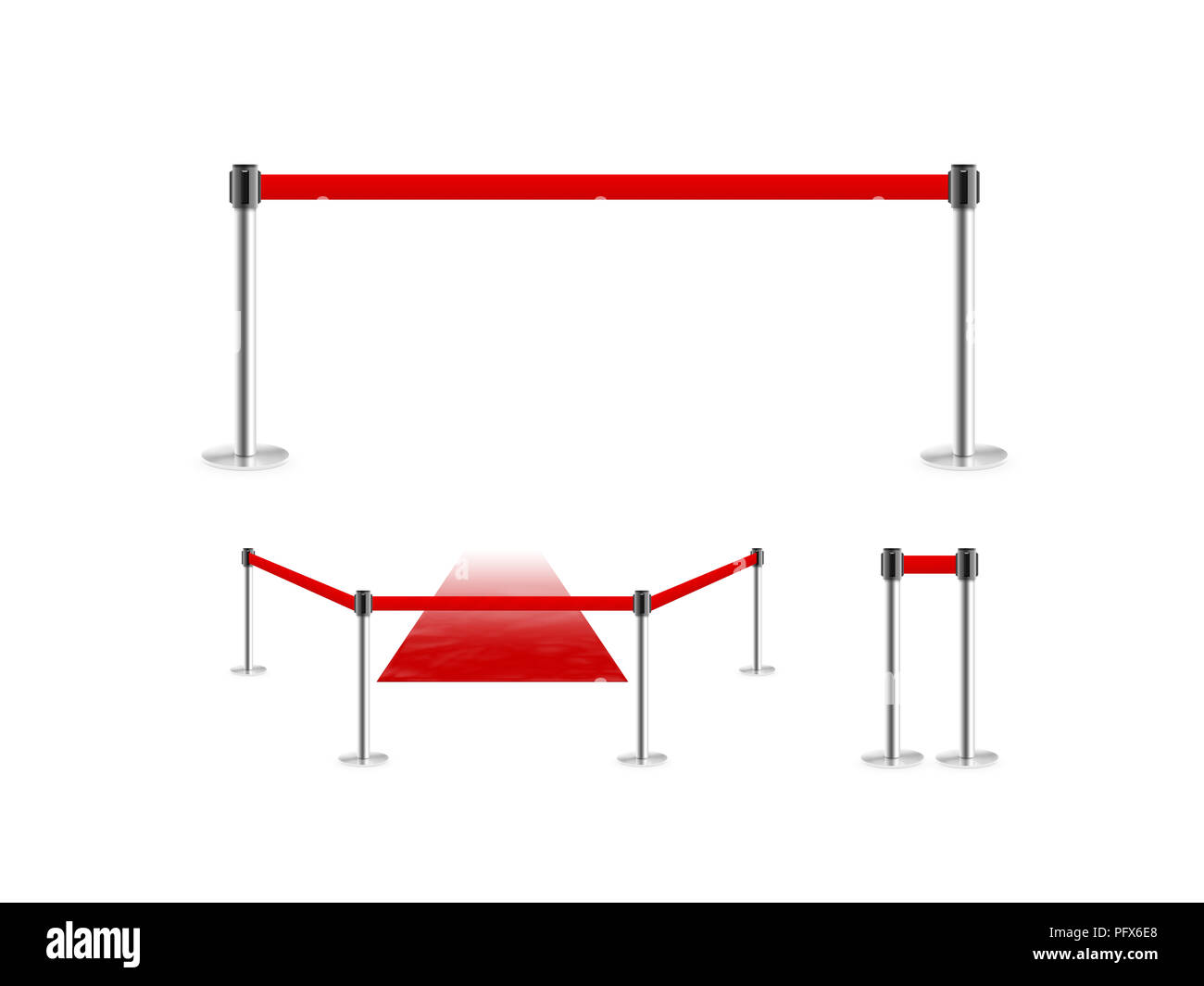 Mobile fence barrier with red belt and velvet carpet stand isolated on white. Fencing barricade on metal chrome pole posts. Portable protective rack w - Stock Image